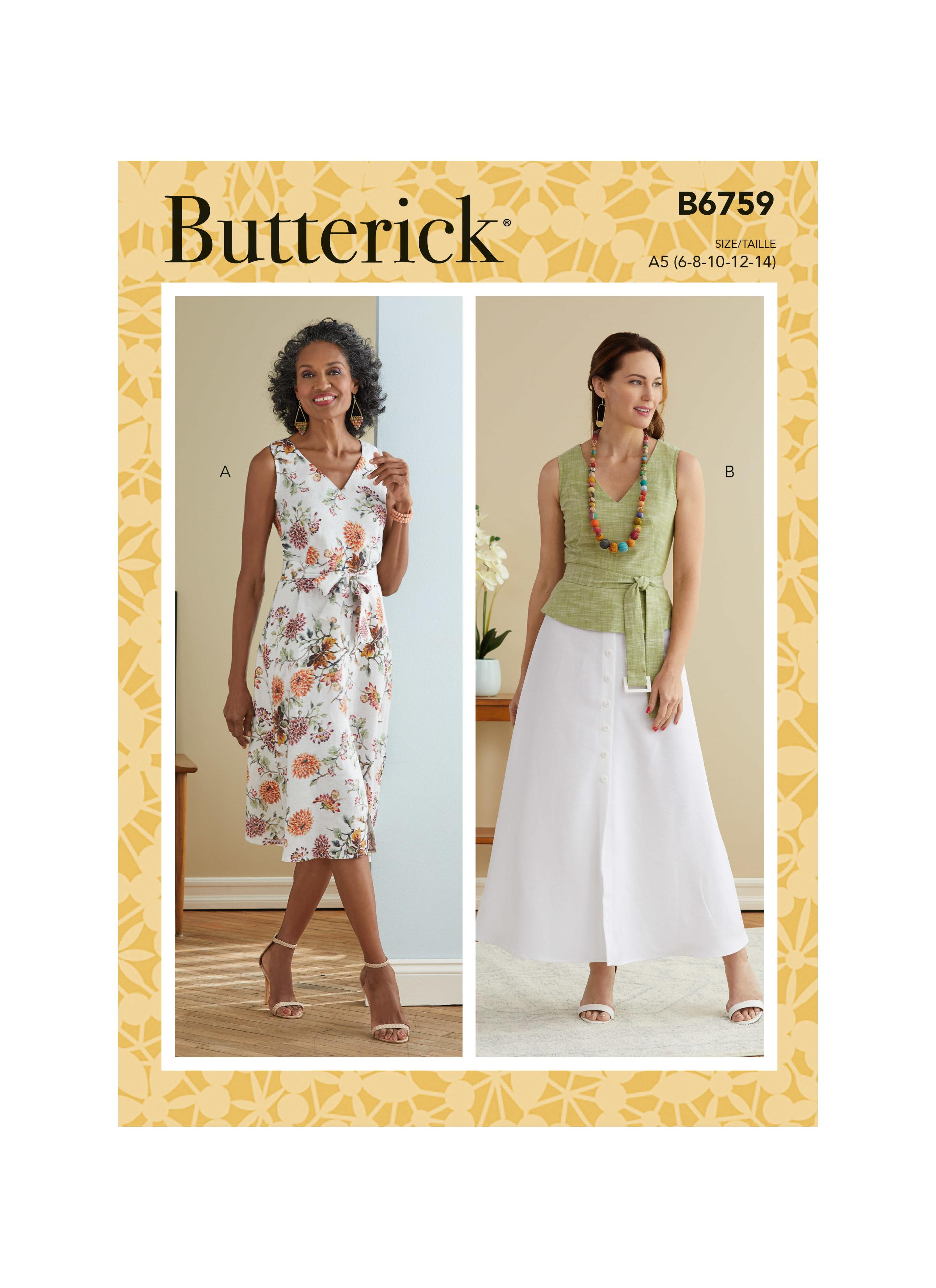 Butterick B6759 Misses' Dress, Sash  and Belt