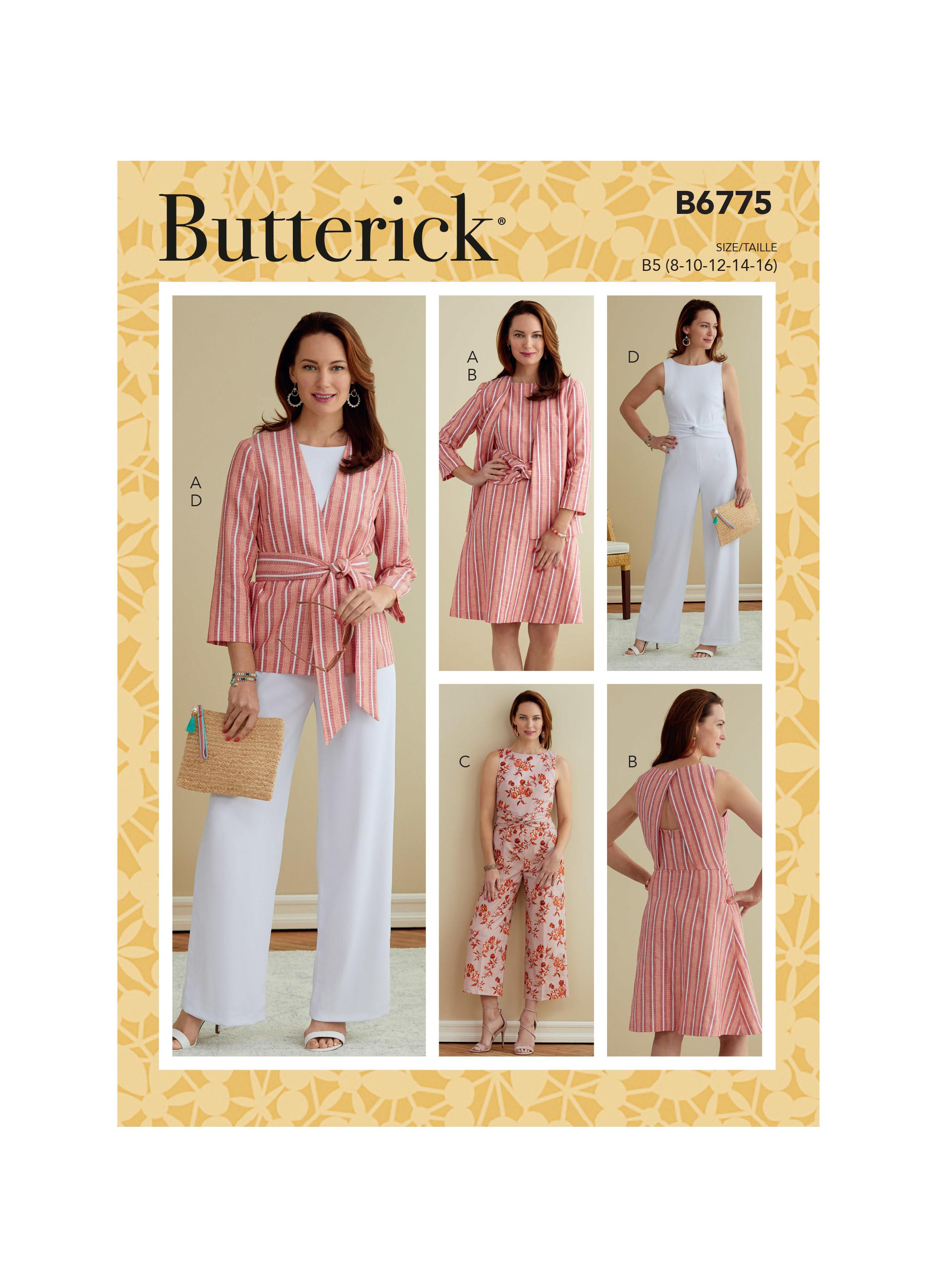 Butterick B6775 Misses' & Women's Jacket, Sash, Dress and Jumpsuits