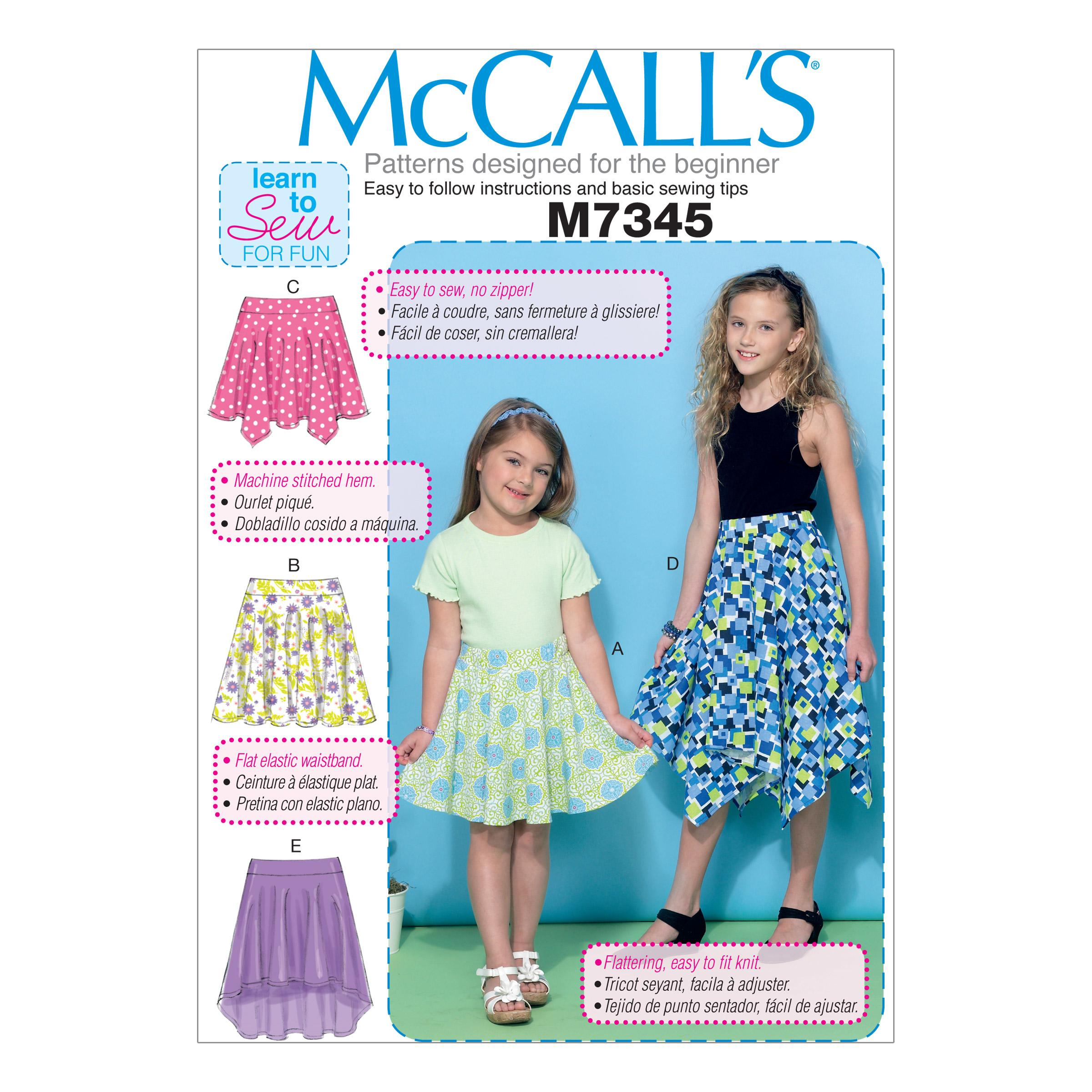 McCalls M7345 Children, Girls/Boys, Learn To Sew for Fun