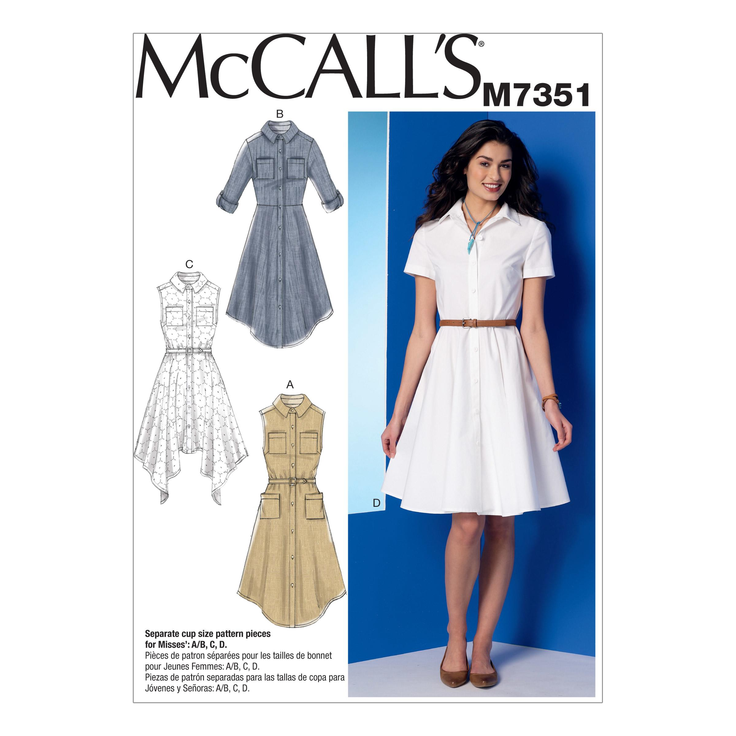 McCalls M7351 A/B, C & D Cup Sizes, Dresses