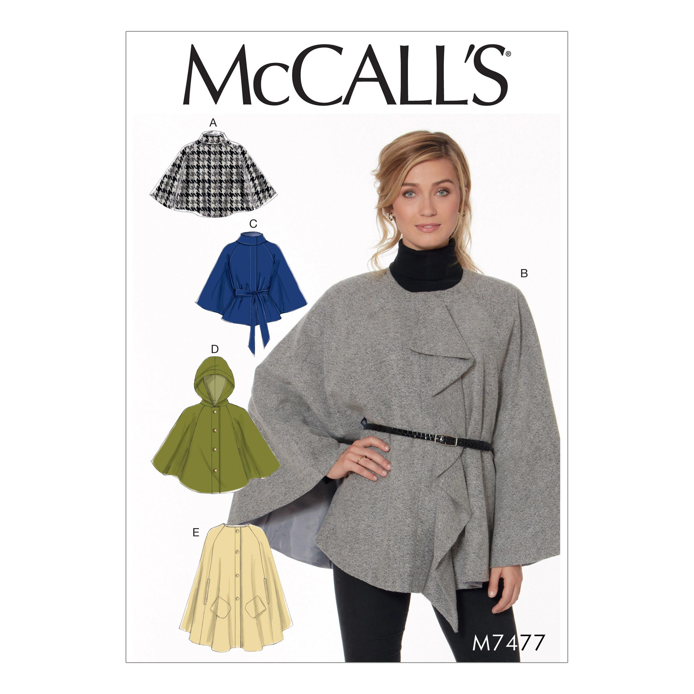 McCalls M7477 Misses Coats, Capes & Ponchos