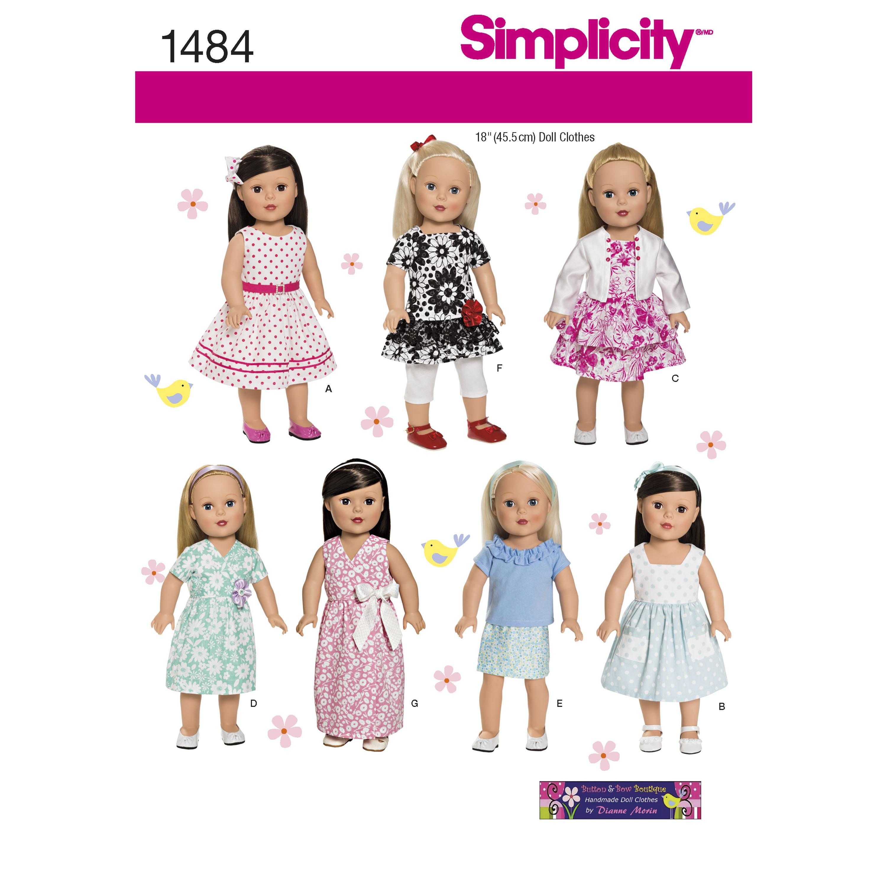"Simplicity S1484 18"" Doll Clothes"