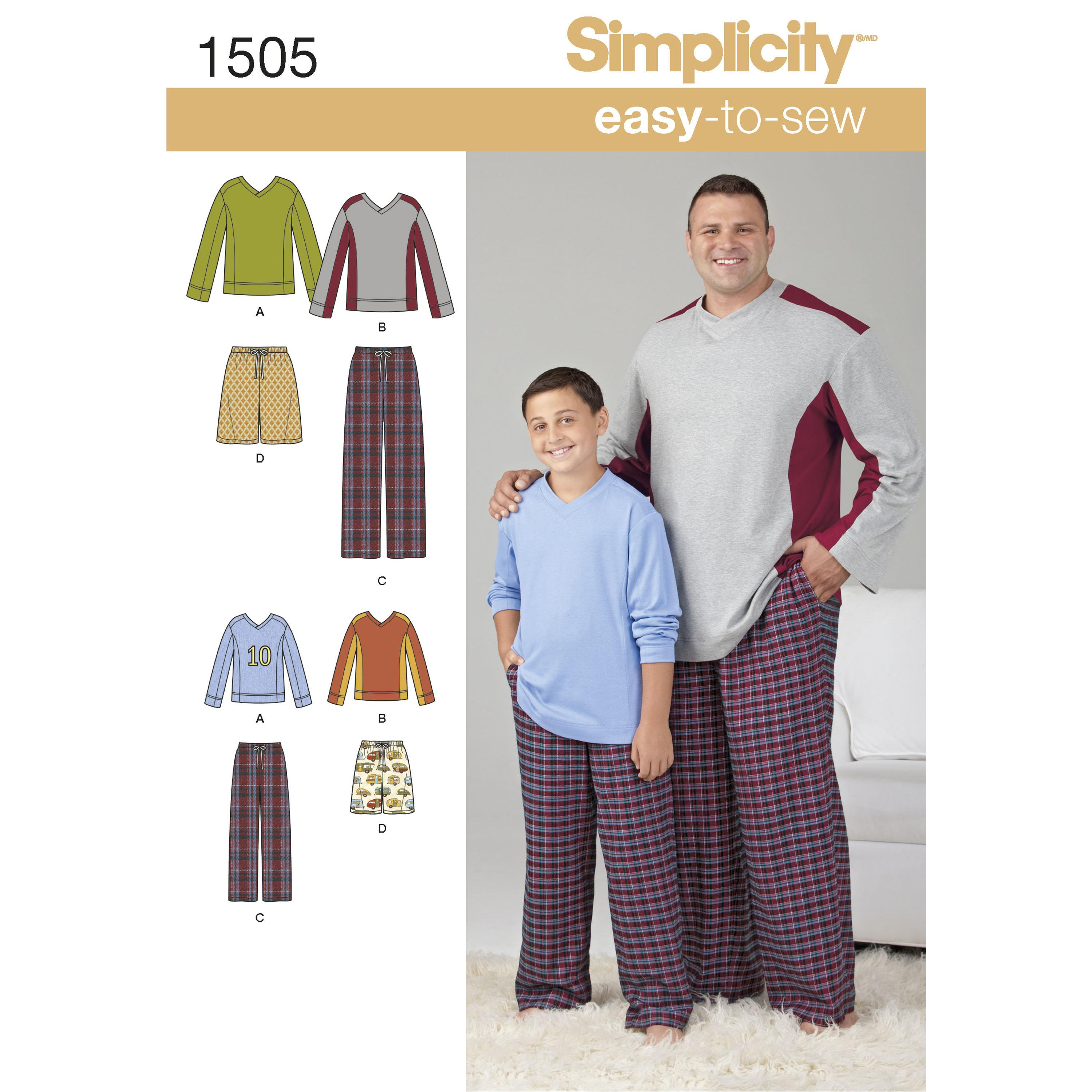 Simplicity S1505 Husky Boys' & Big & Tall Men's Tops and Trousers