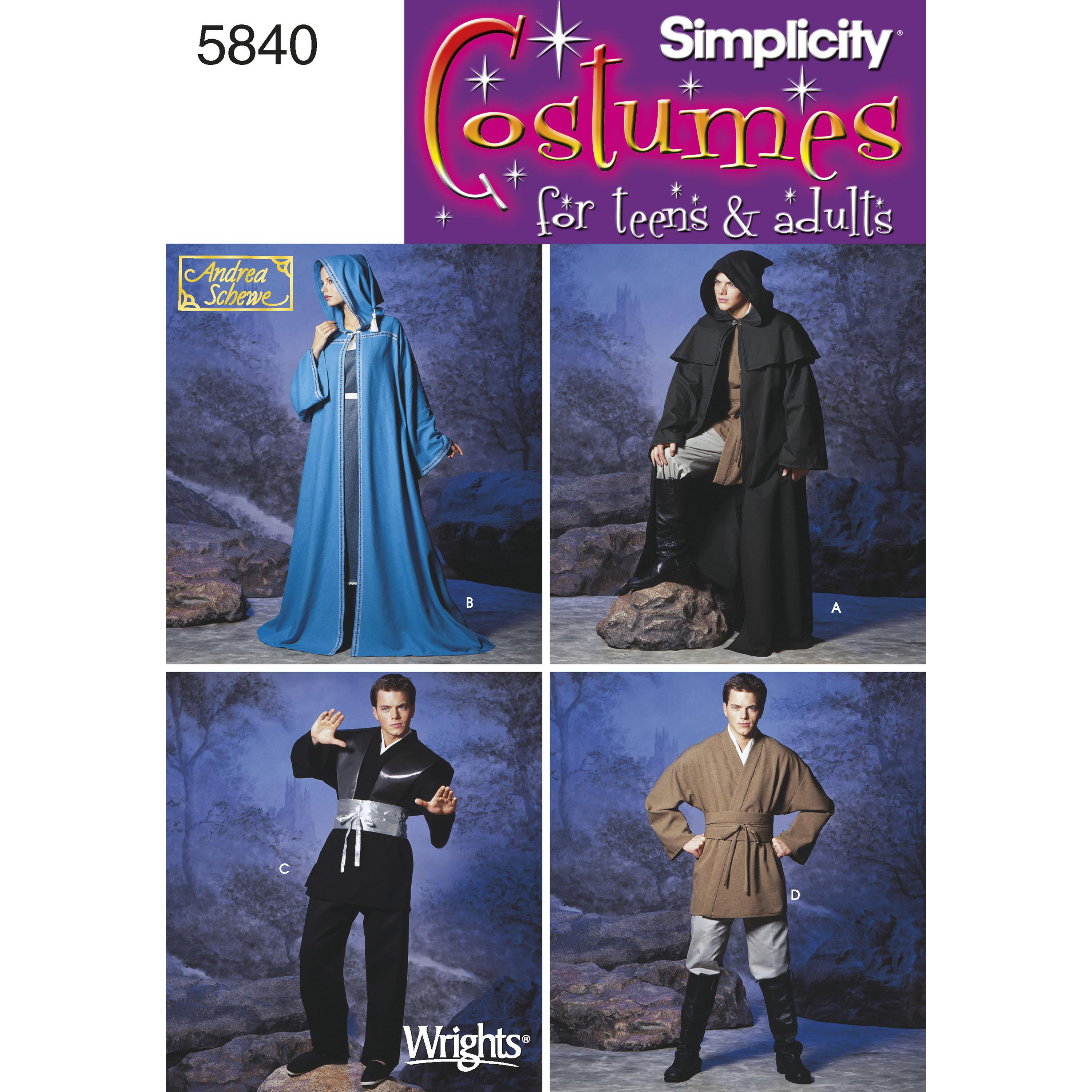 Simplicity S5840 Women's, Men & Teen Costumes