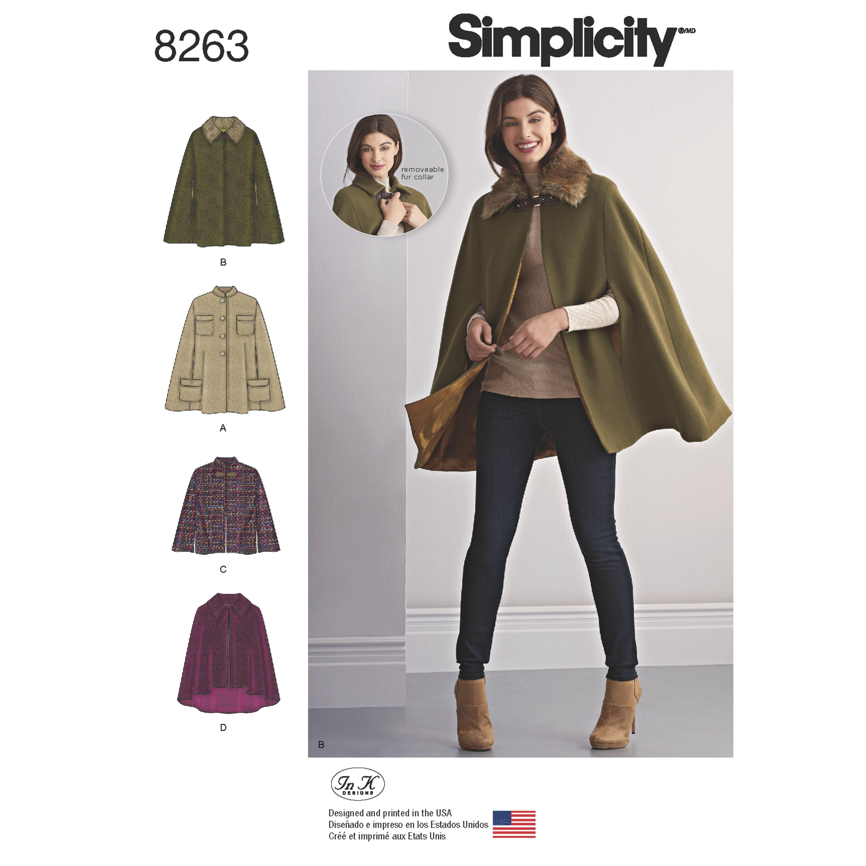 Simplicity S8263 Women's Capes and Capelets