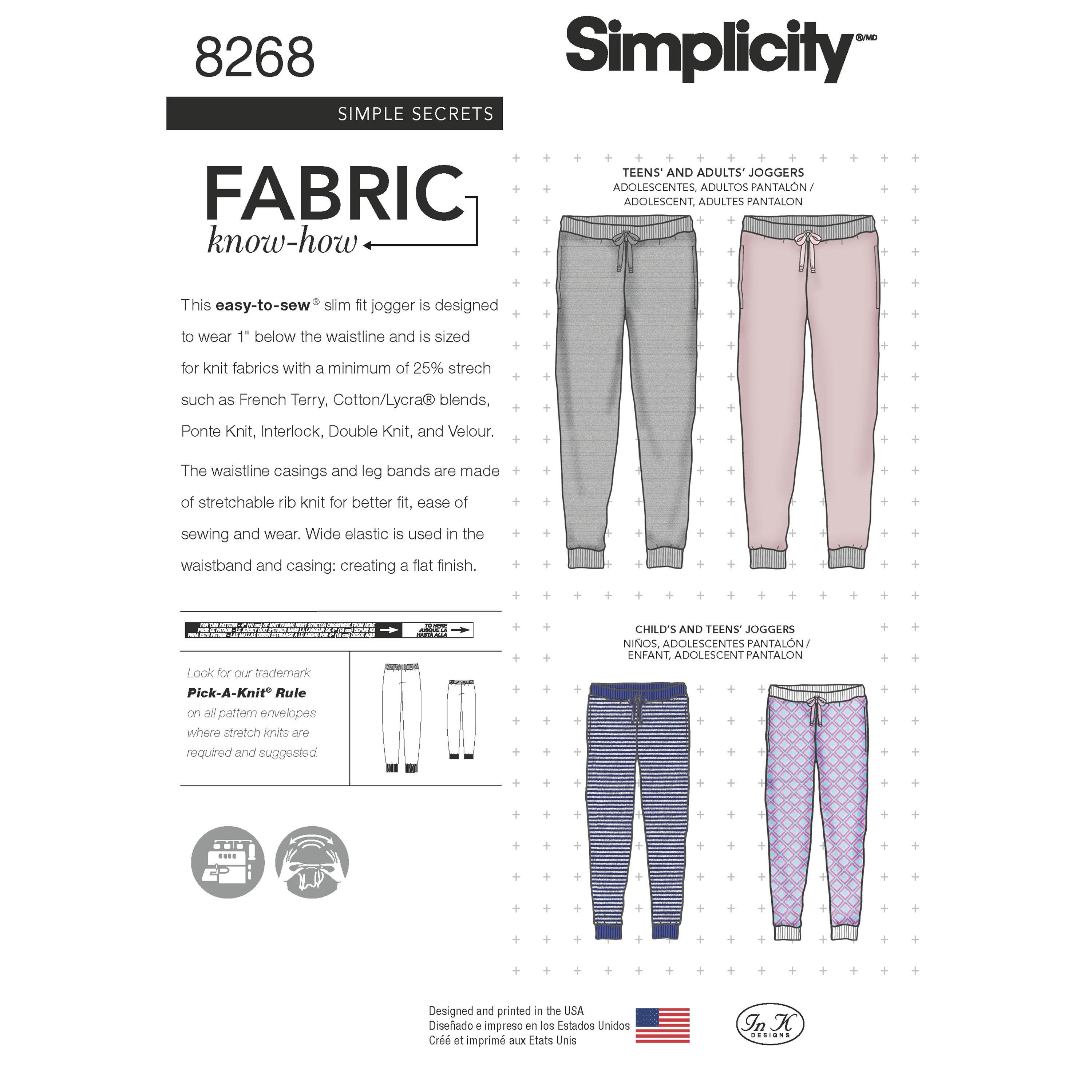 Simplicity S8268 Child's, Teen's and Adult's Slim Fit Knit Jogger