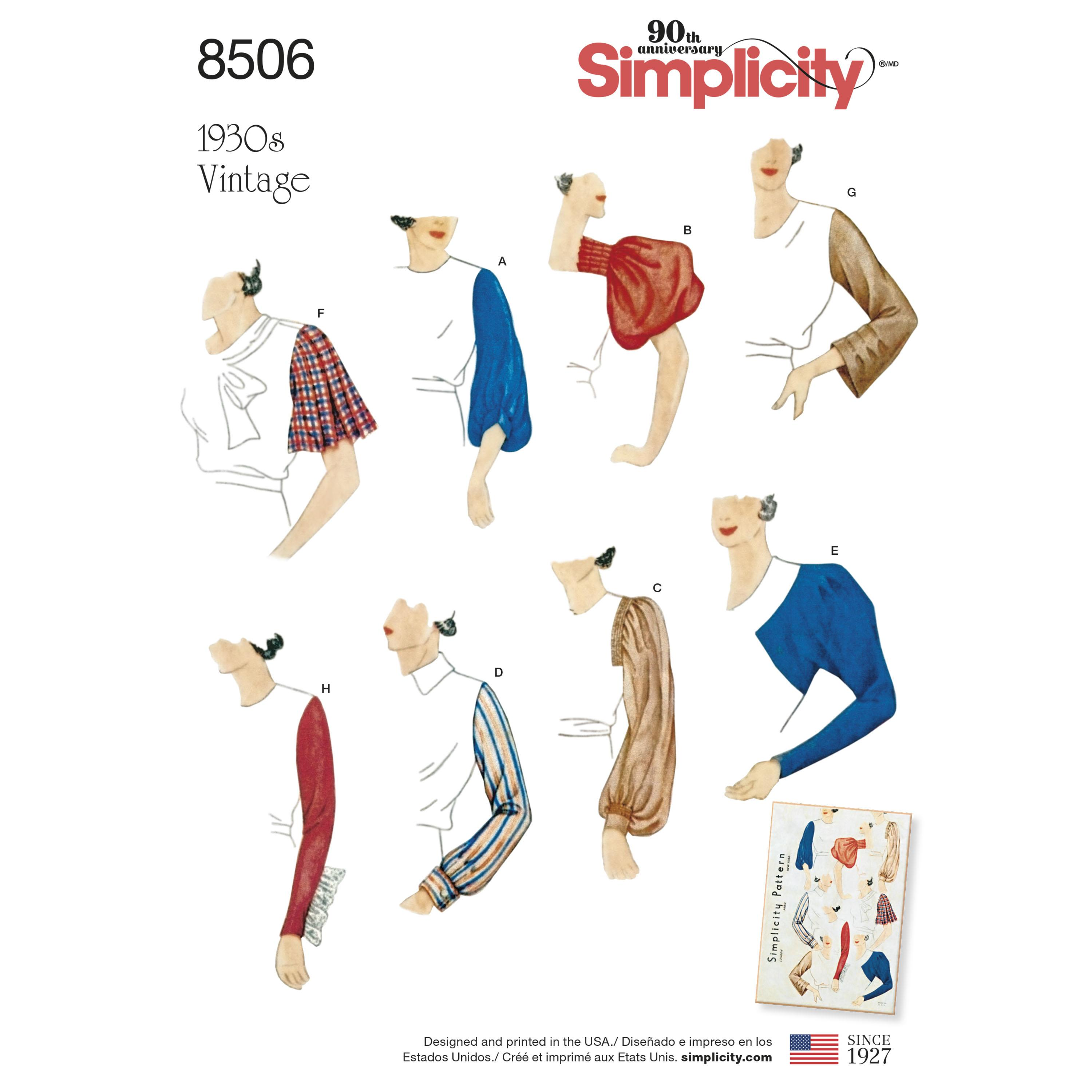 Simplicity S8506 Misses' Vintage Set of Sleeves