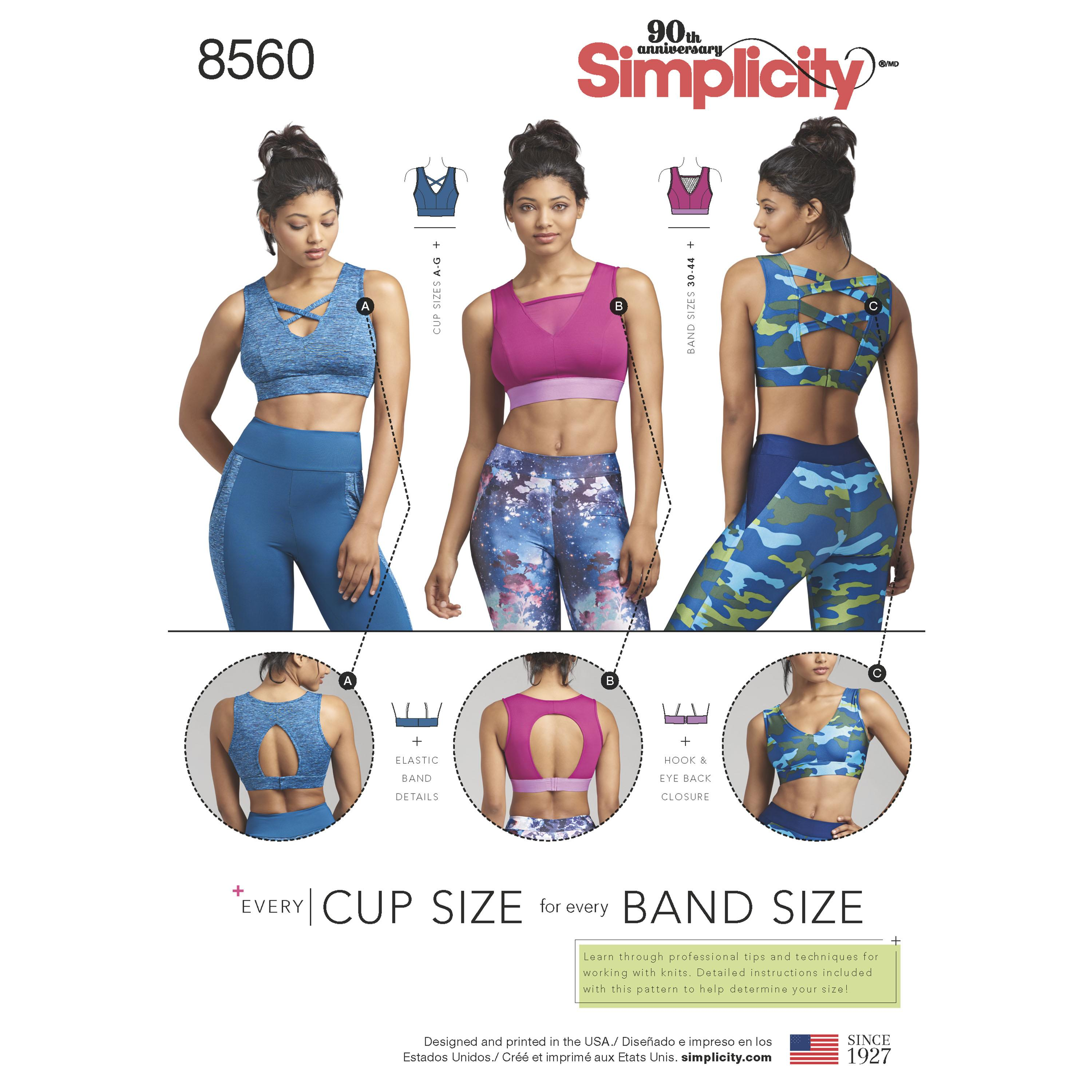 Simplicity S8560 Womens' Knit Sports Bras