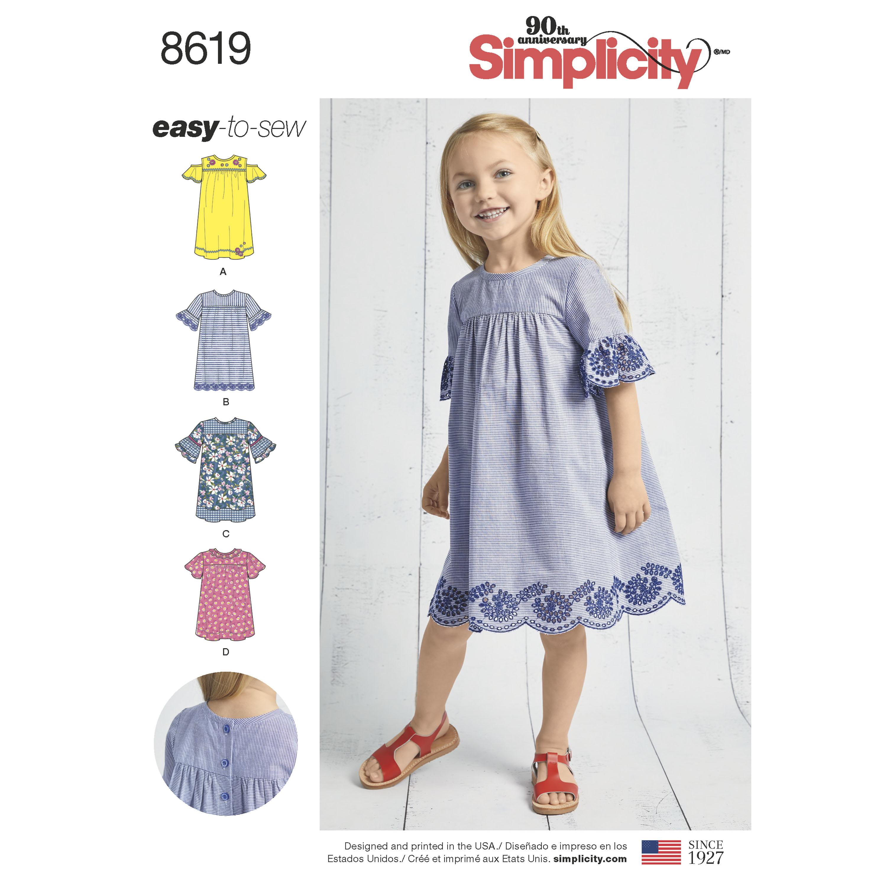 Simplicity S8619 Child's Easy to Sew Dresses