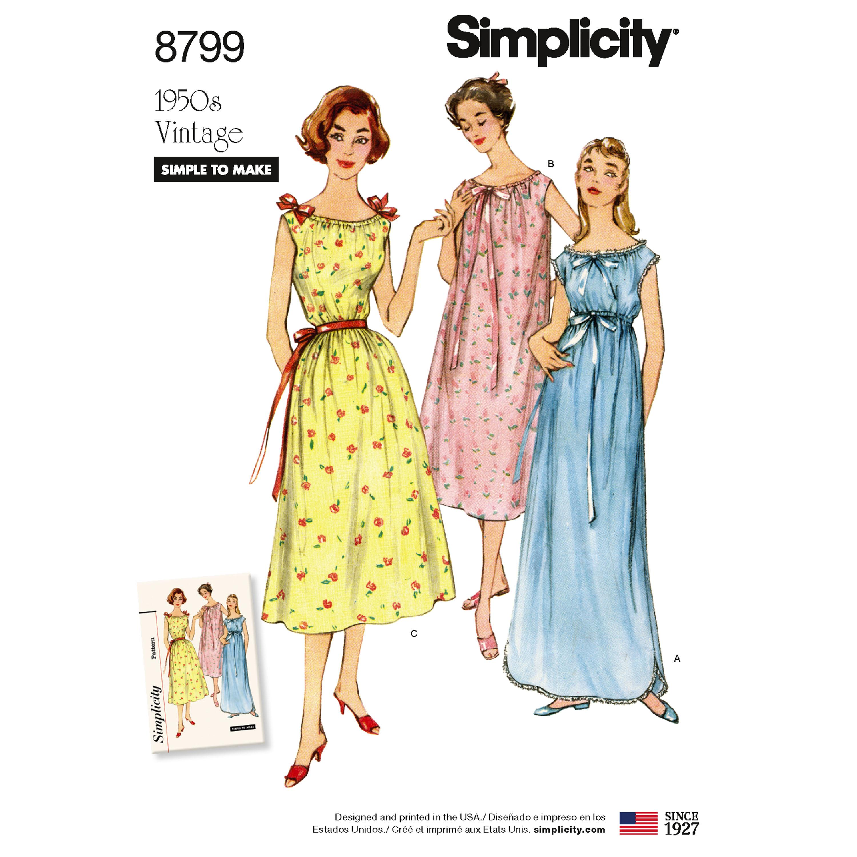 Simplicity S8799 Misses' Vintage Nightgowns
