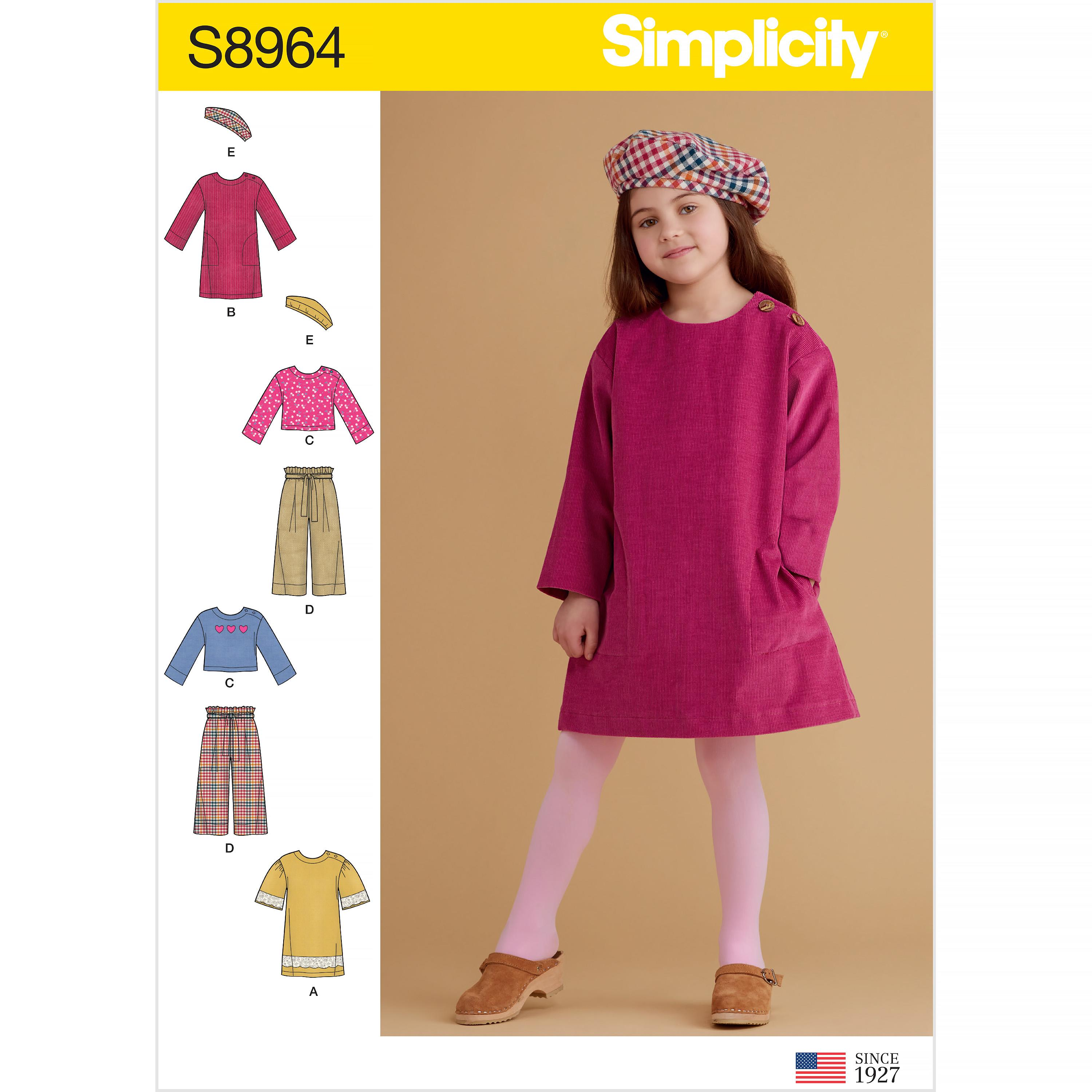 Simplicity S8964 Children's Dresses, Tops, Pants, and Hat