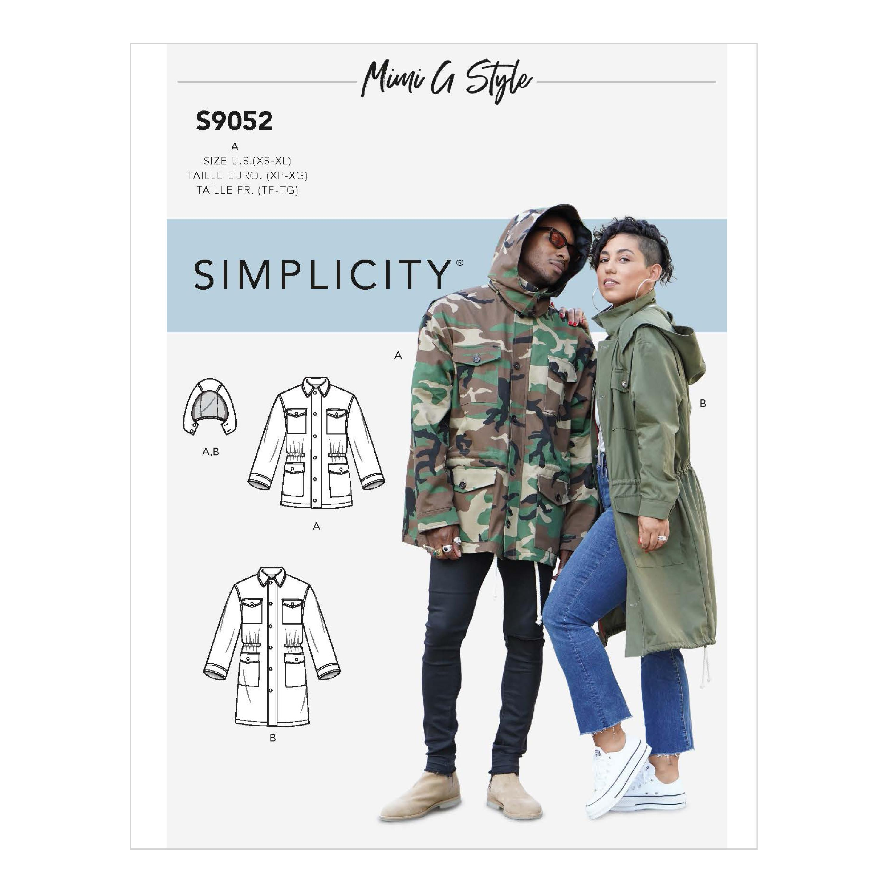 Simplicity S9052 Misses' Mens & Teen's Jacket & Hood