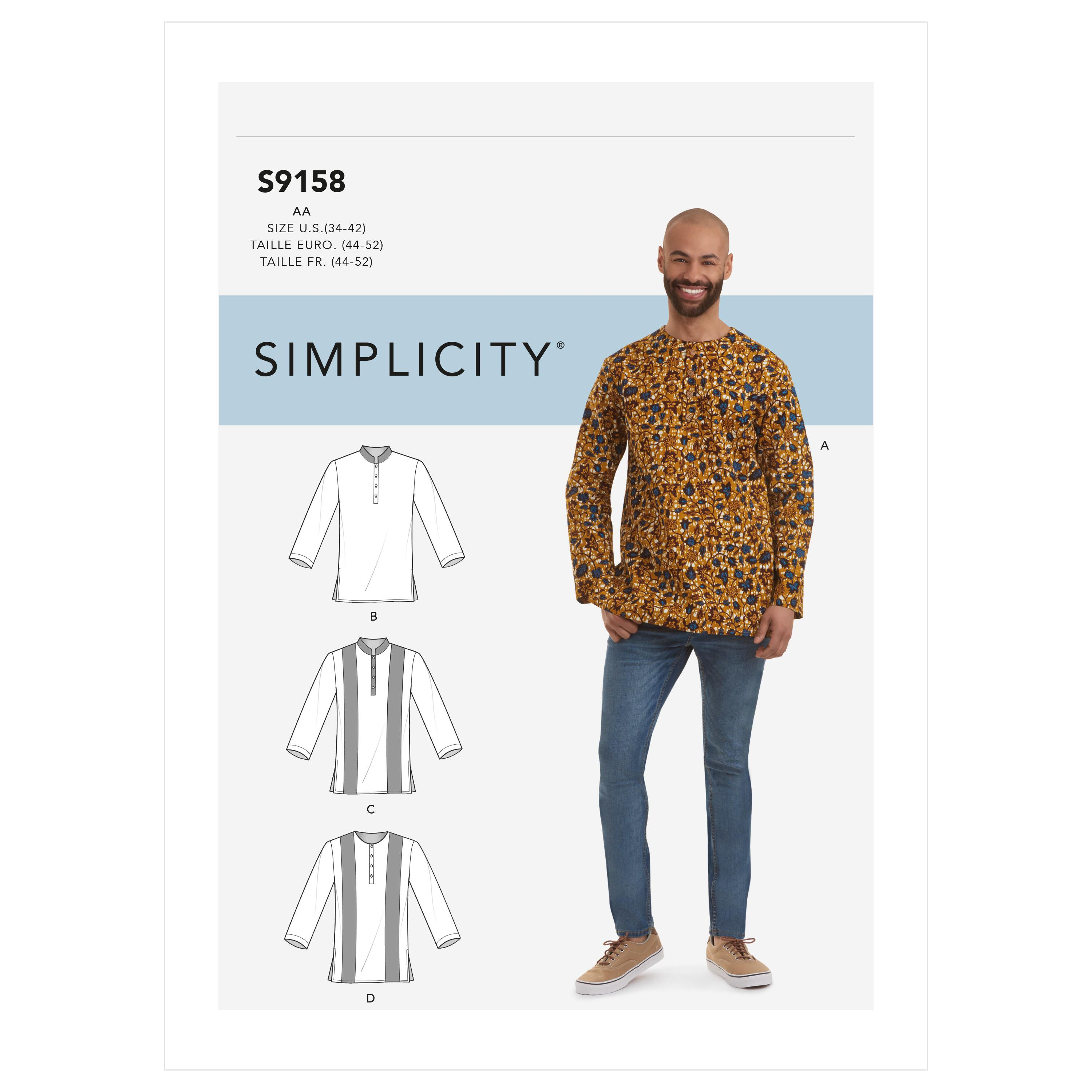 Simplicity S9158 Men's Half Buttoned Shirts
