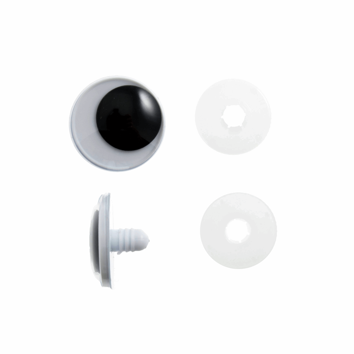 Toy Eyes: Safety Googly: 15mm: Black: 4 Pack