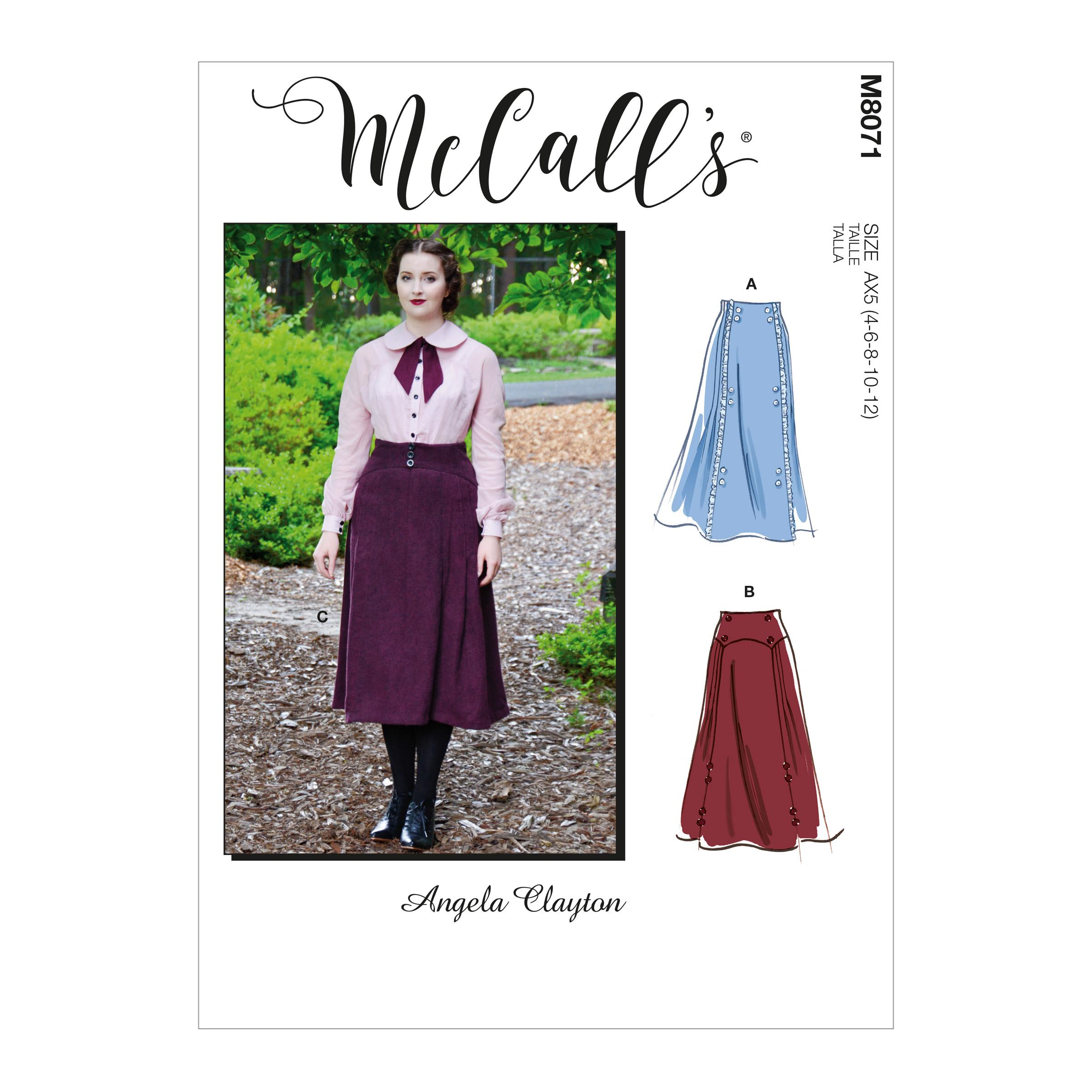 McCalls M8071 Misses' Historical Skirt