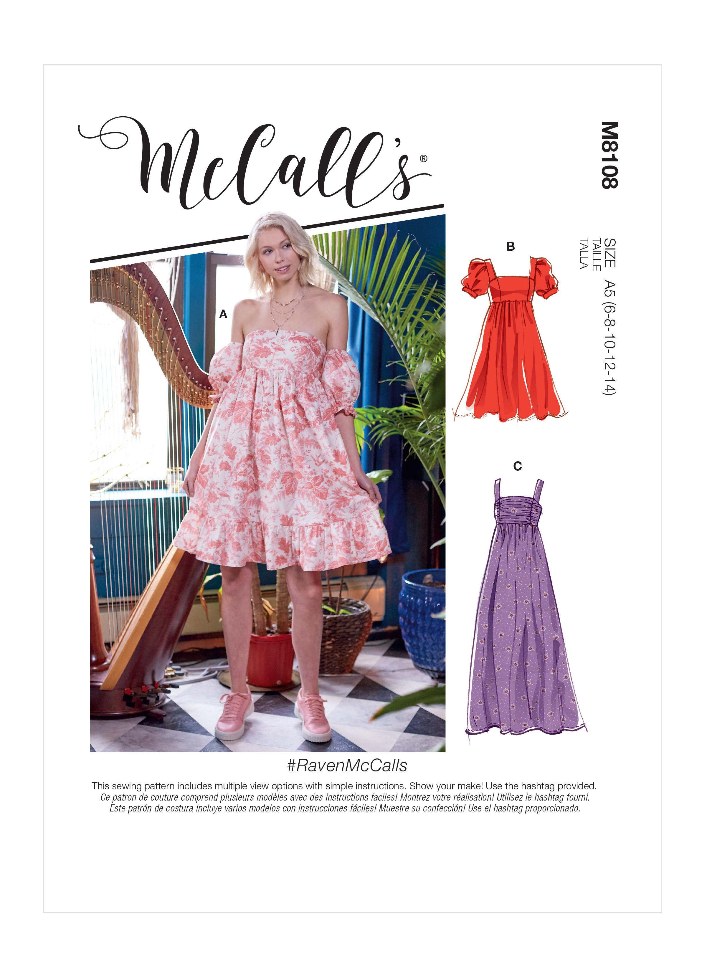 McCalls M8108 #RavenMcCalls - Misses' Empire Seam Gathered Dresses In Various Lengths, Necklines & Straps
