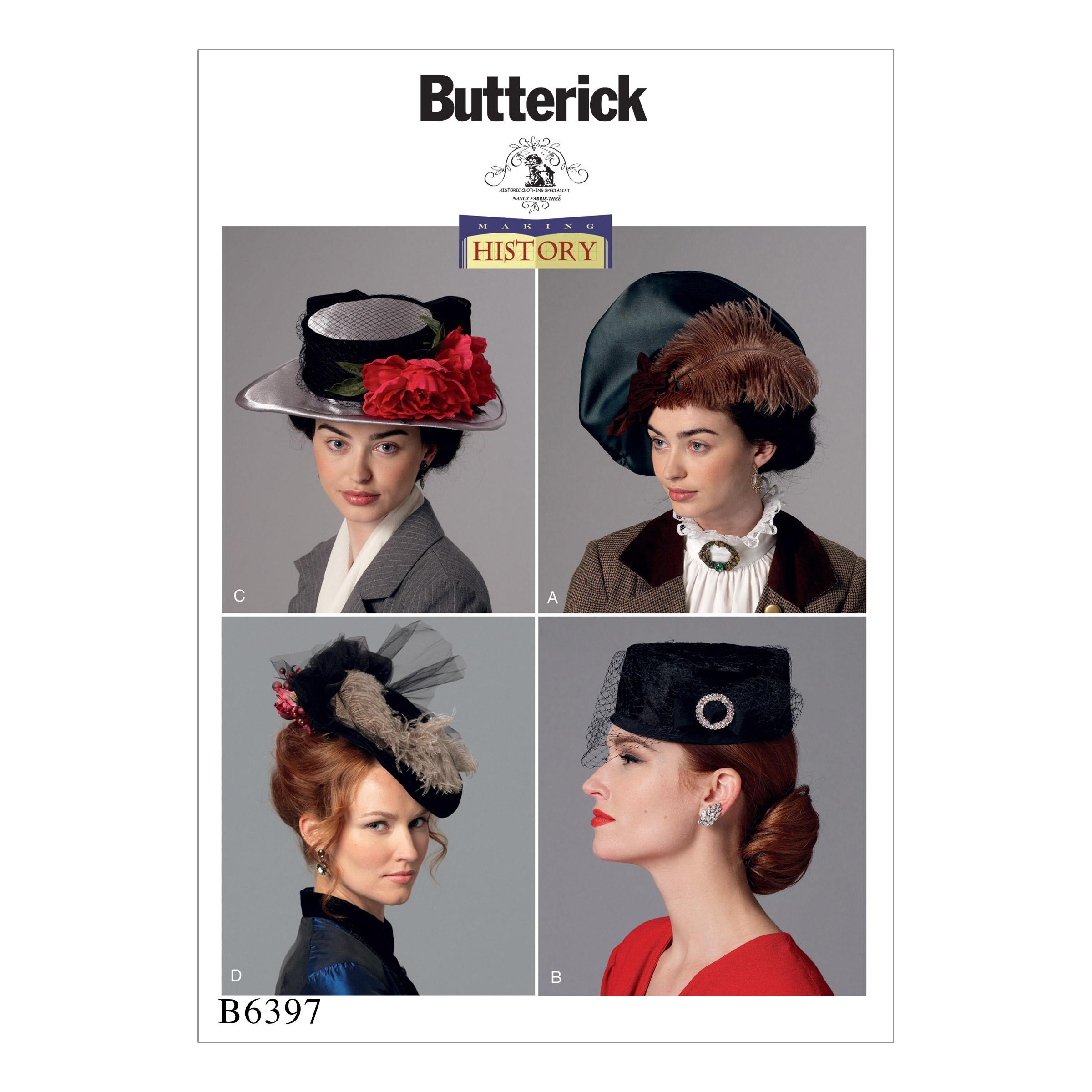 Butterick B6397 Misses' Hats in Four Styles
