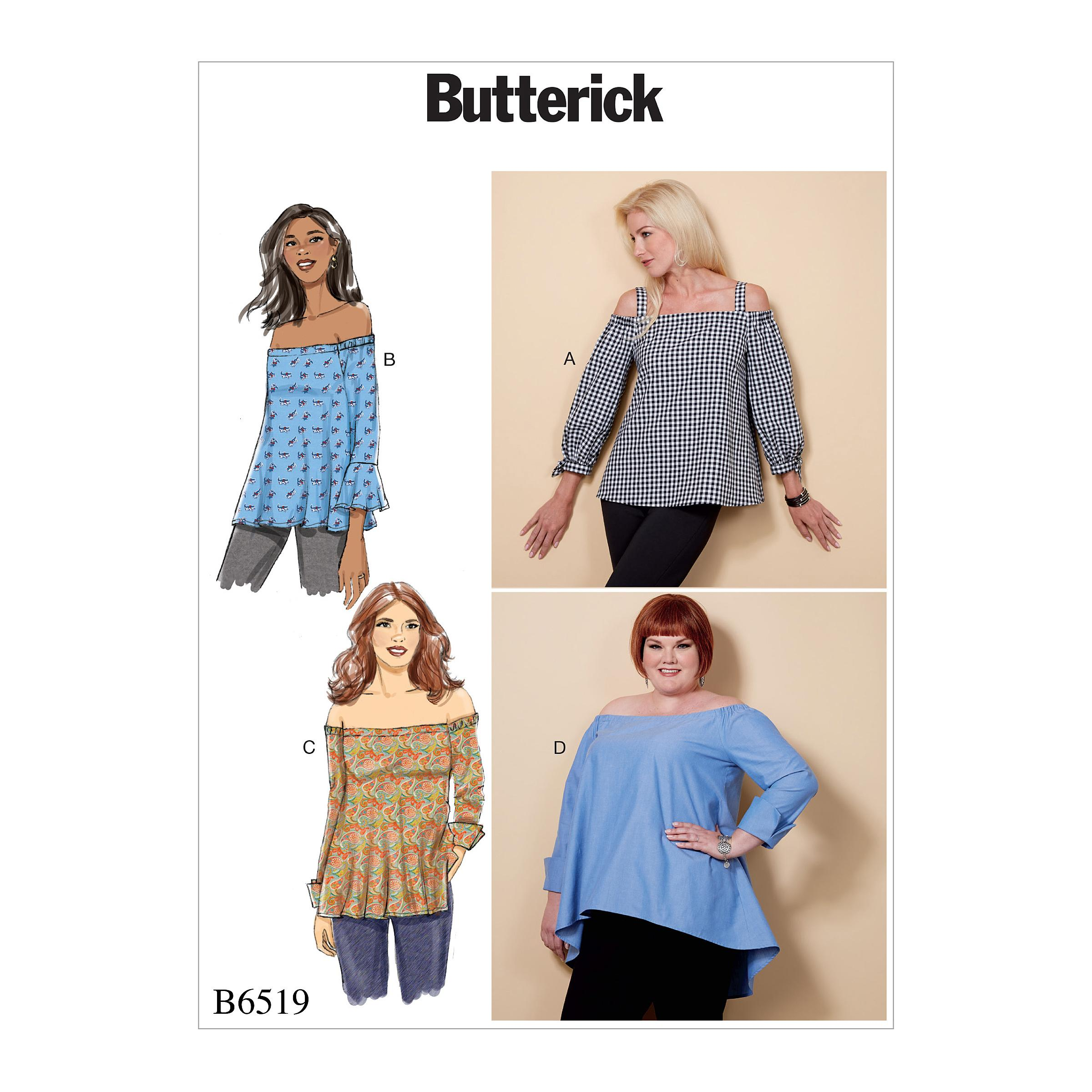 Butterick B6519 Misses' Off-the-Shoulder Top