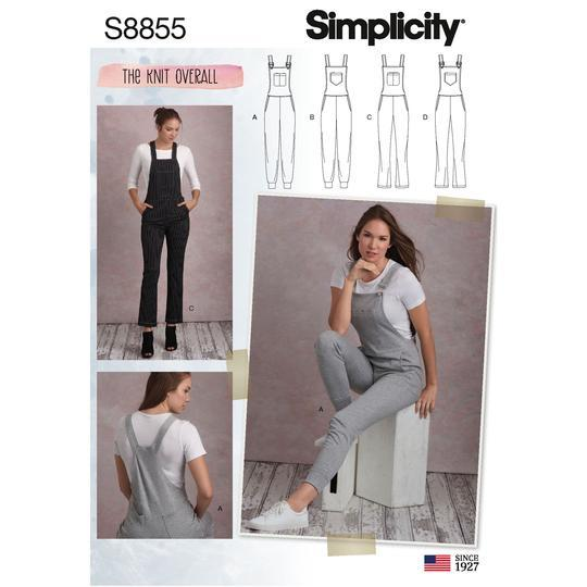 Simplicity S8855 Misses' Knit Overalls