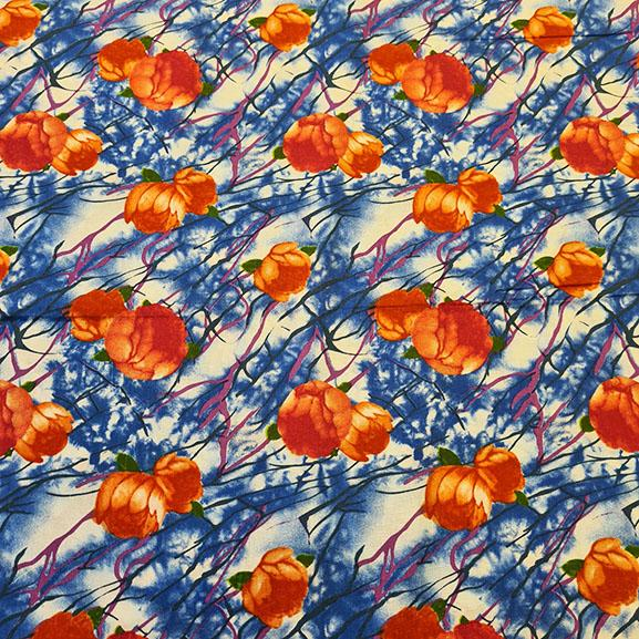 Orange Flowers on Blue Background Cotton Lawn