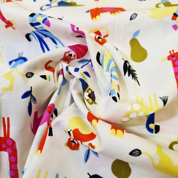 Safari Cartoon Animals Poplin