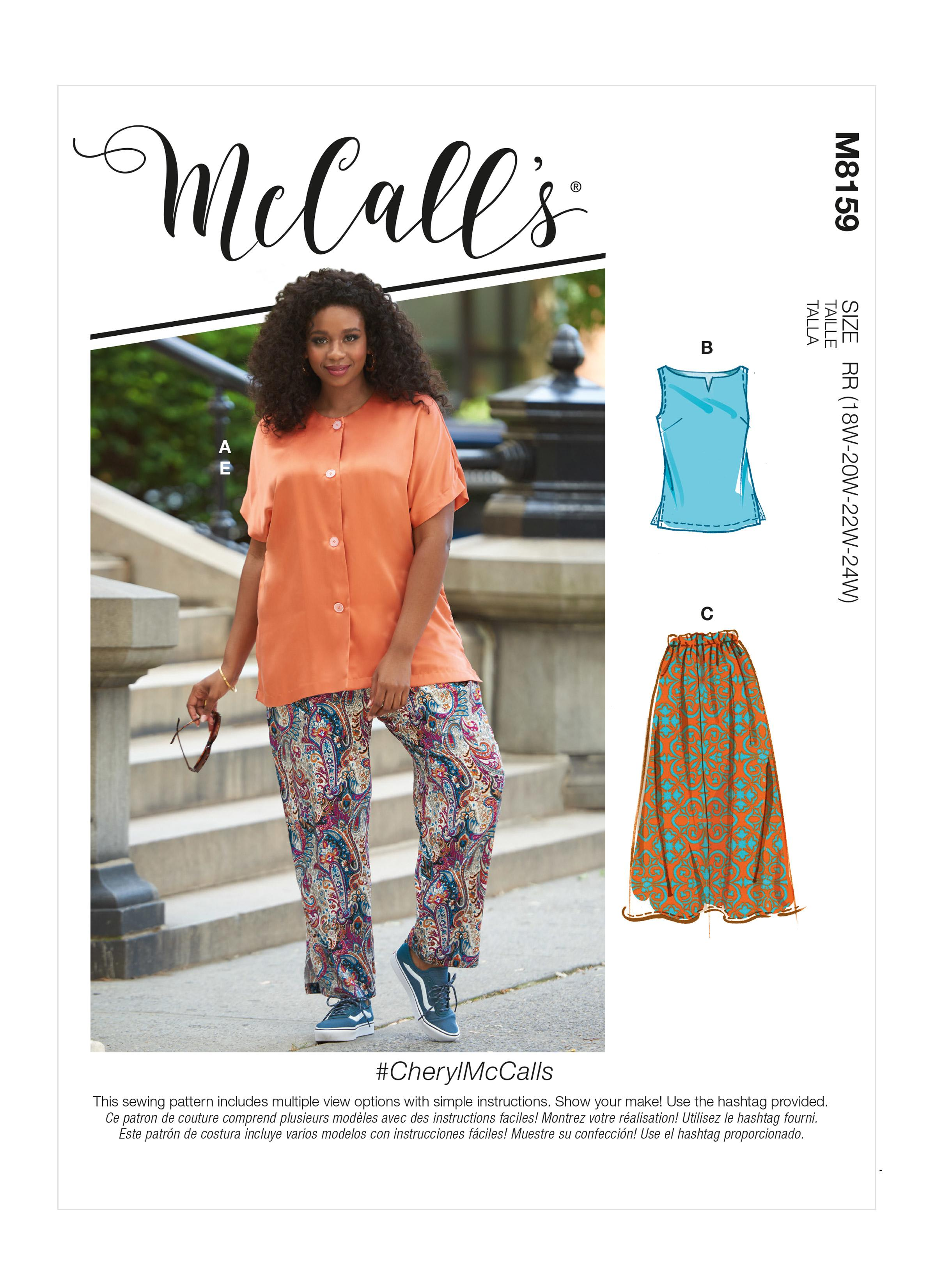 McCalls M8159 #CherylMcCalls - Women's Side Slit Shirt, Top, Skirt & Pants