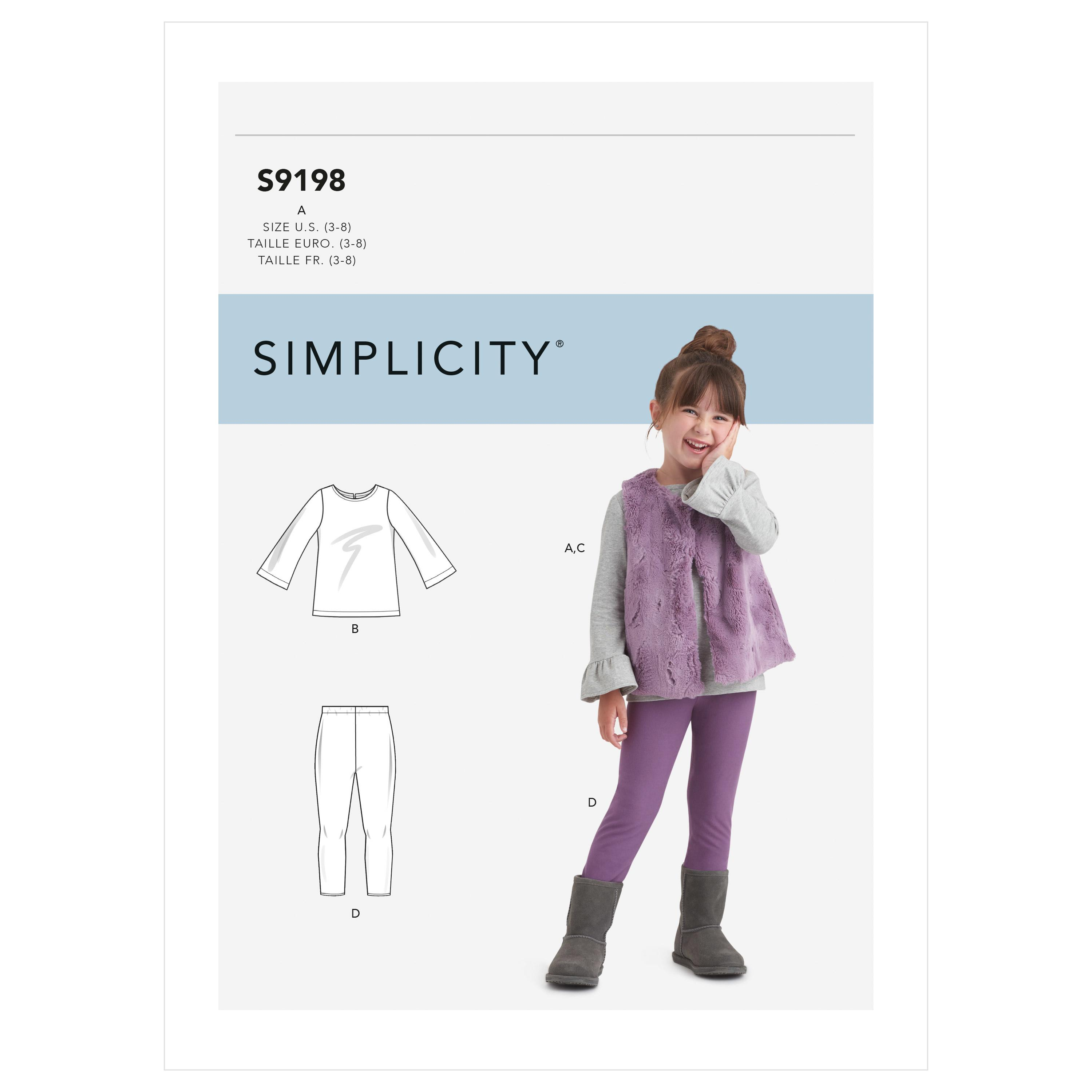 Simplicity Sewing Pattern S9198 Children's Tops, Vest & Leggings