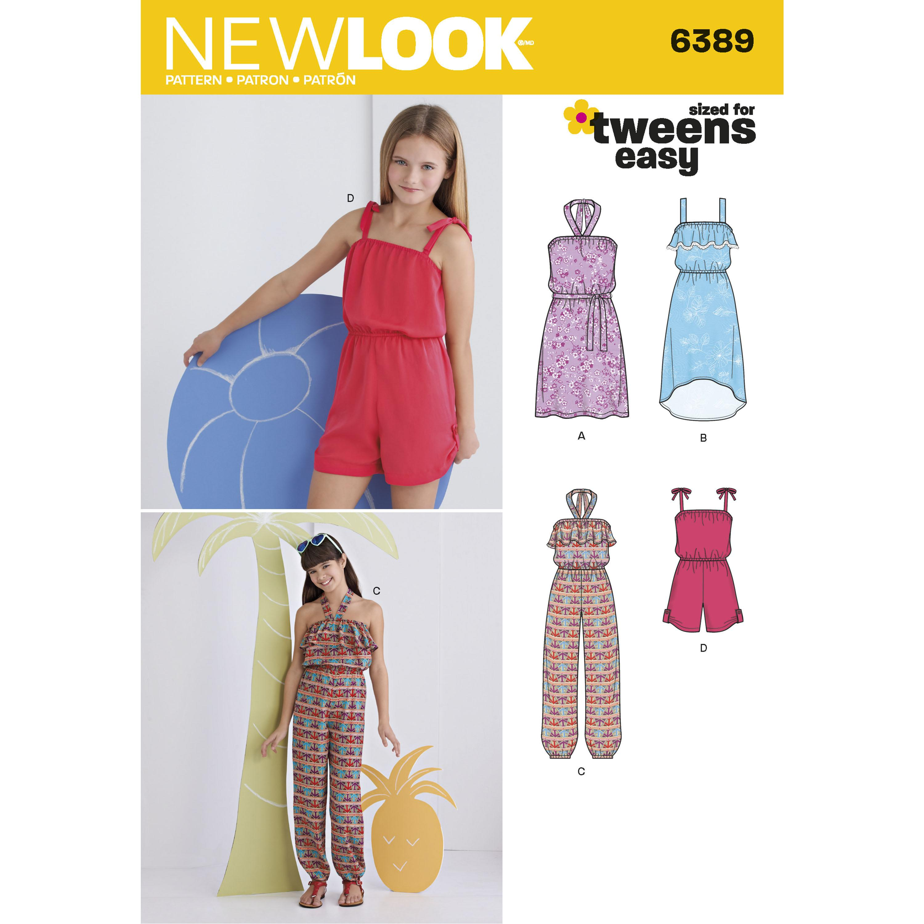 NewLook N6389 Girls' Easy Jumpsuit, Romper and Dresses