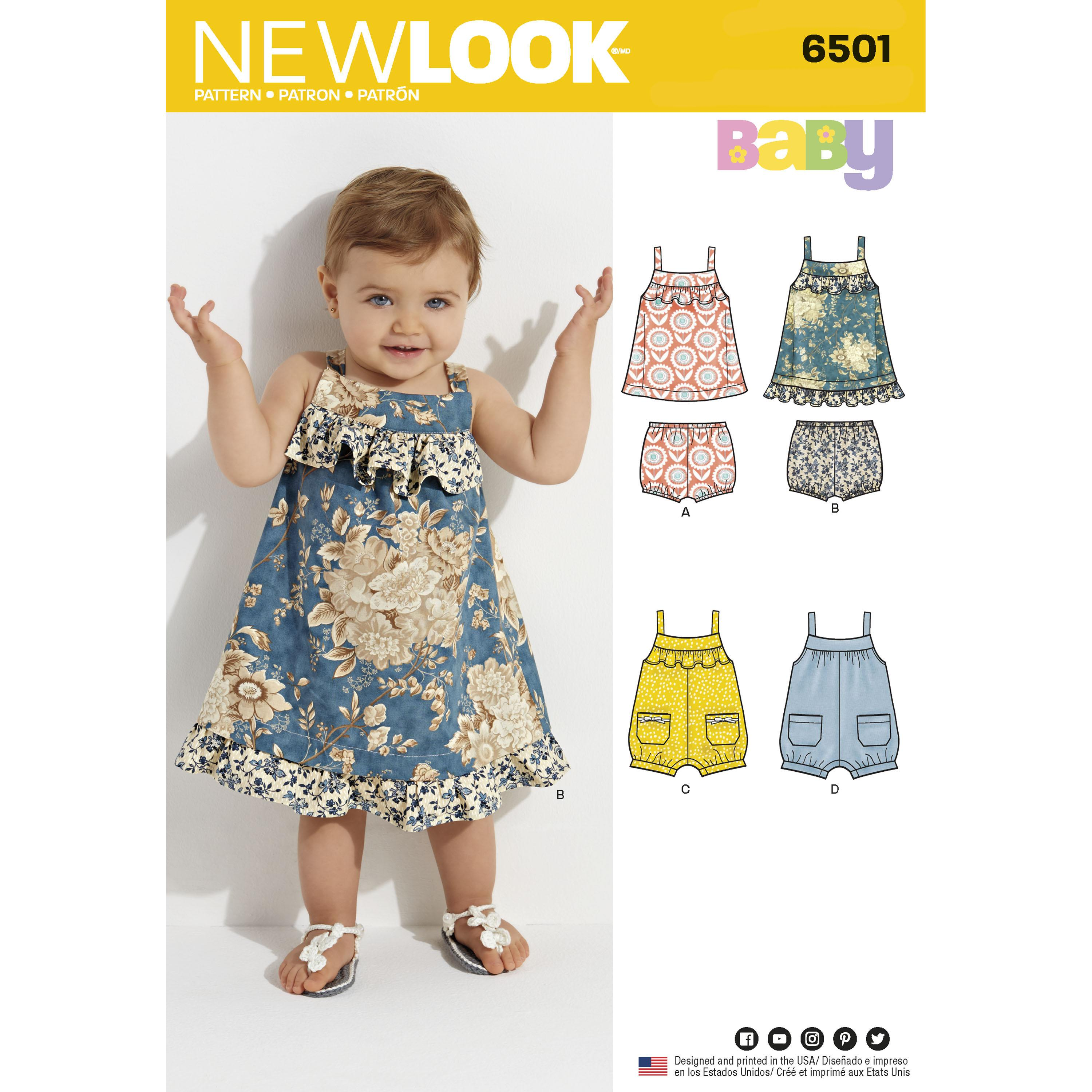 NewLook N6501 Babies' Dress and Romper