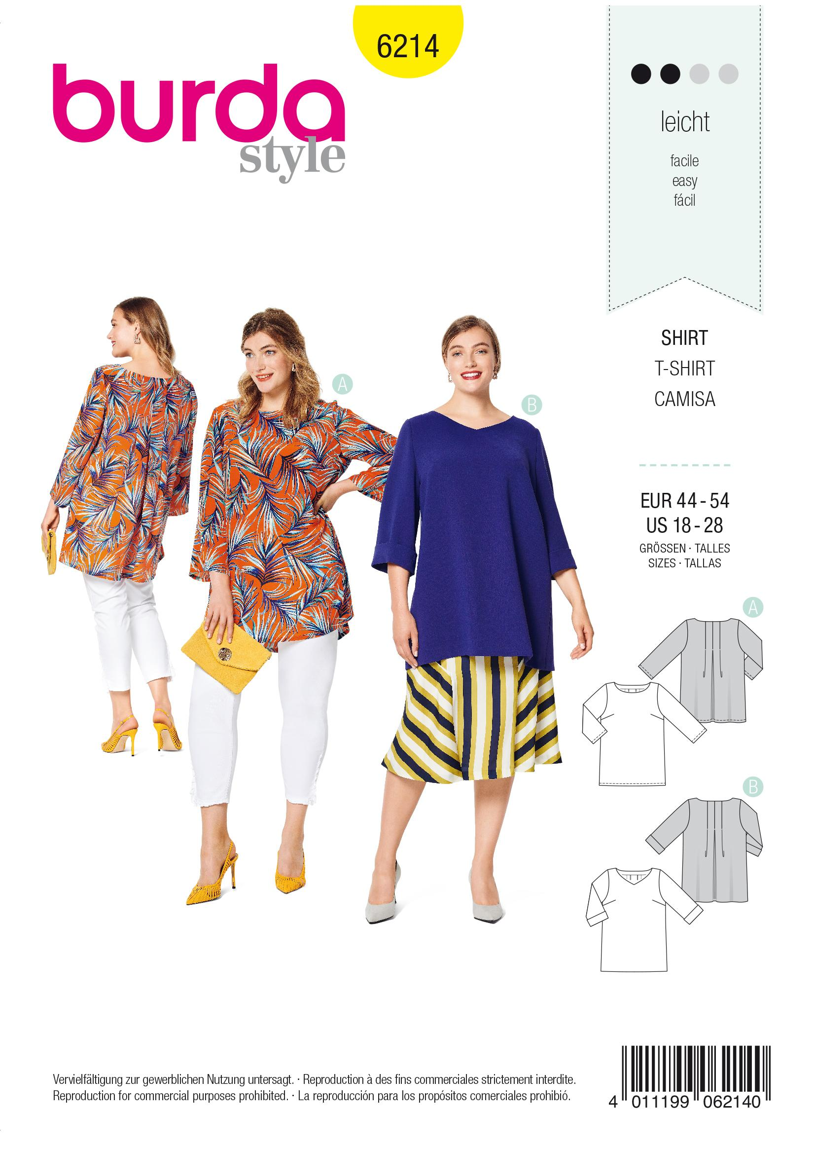 Burda B6214 Top Sewing Pattern