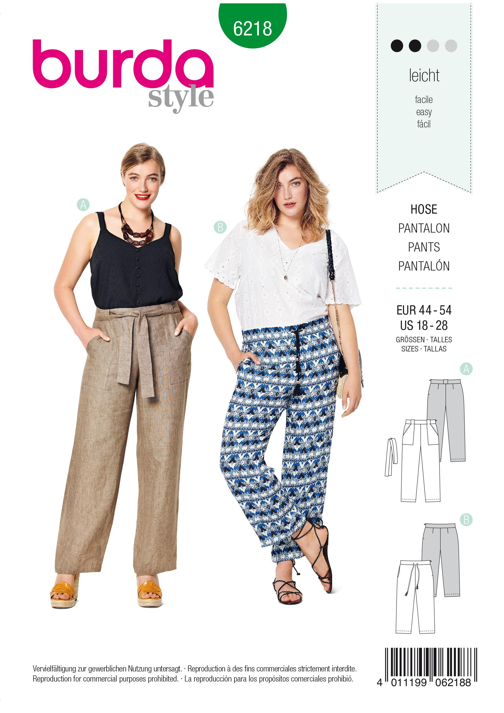 Burda B6218 Trousers/Pants Sewing Pattern