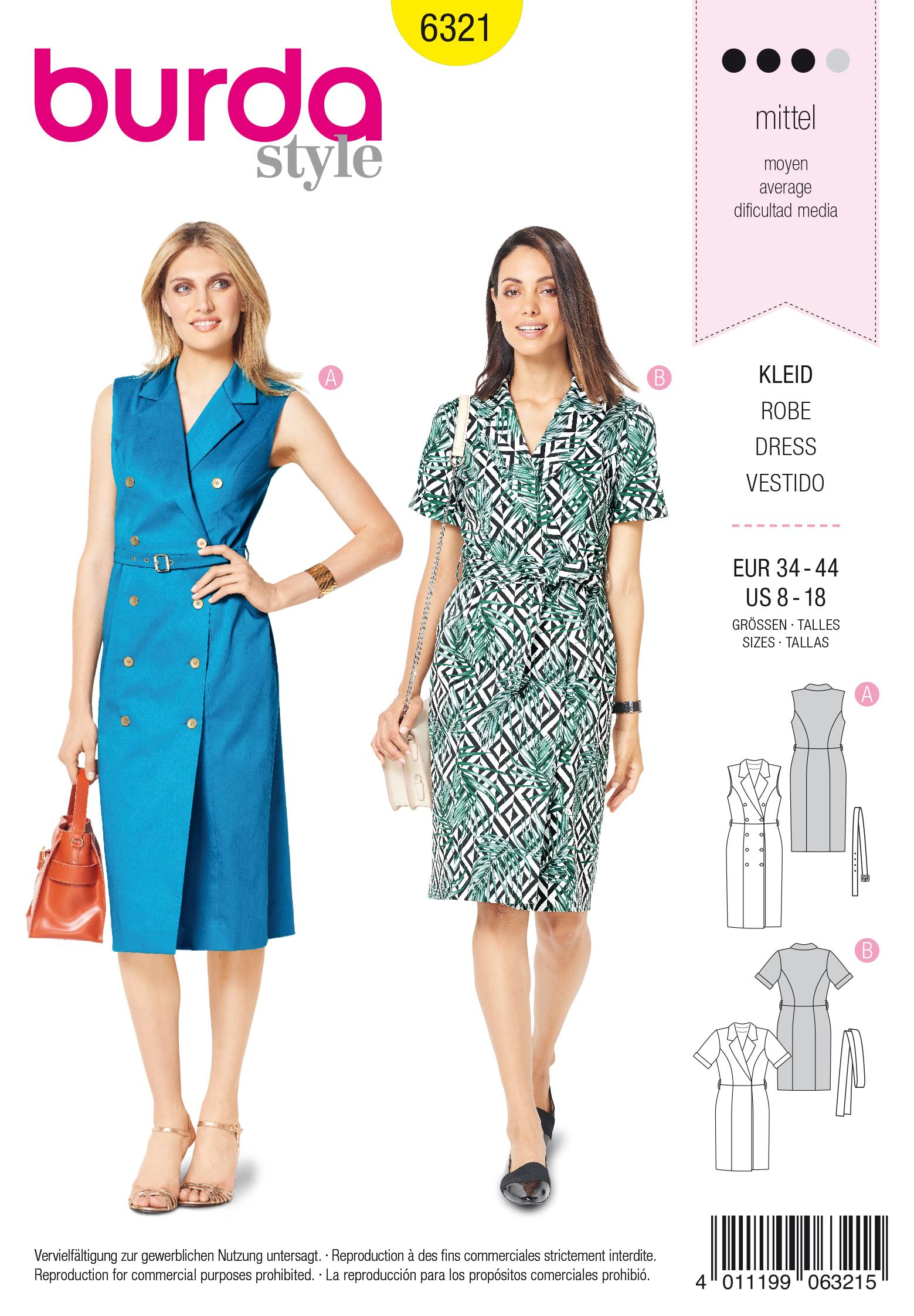 Burda 6321 Misses' dress with lapels