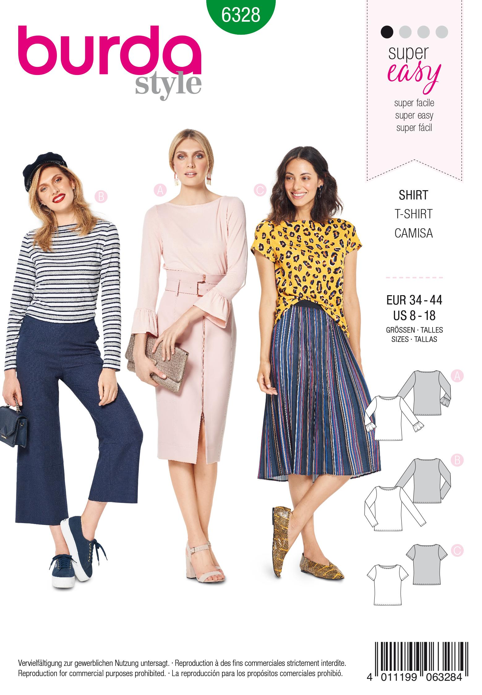 Burda 6328 Misses' top with boat neckline