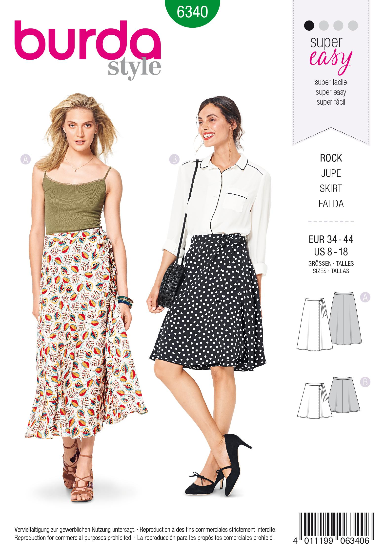 Burda 6340 Misses' wrap skirt