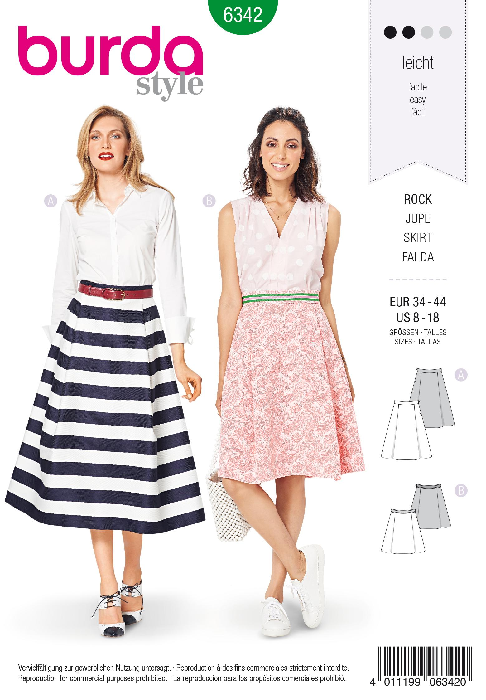 Burda 6342 Misses' side pleat skirt