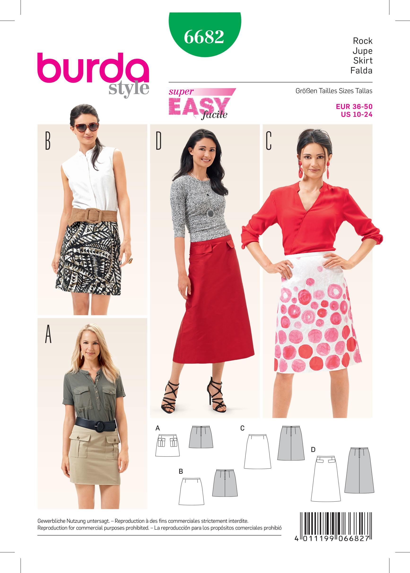 Burda B6682 Women's Skirt Sewing Pattern