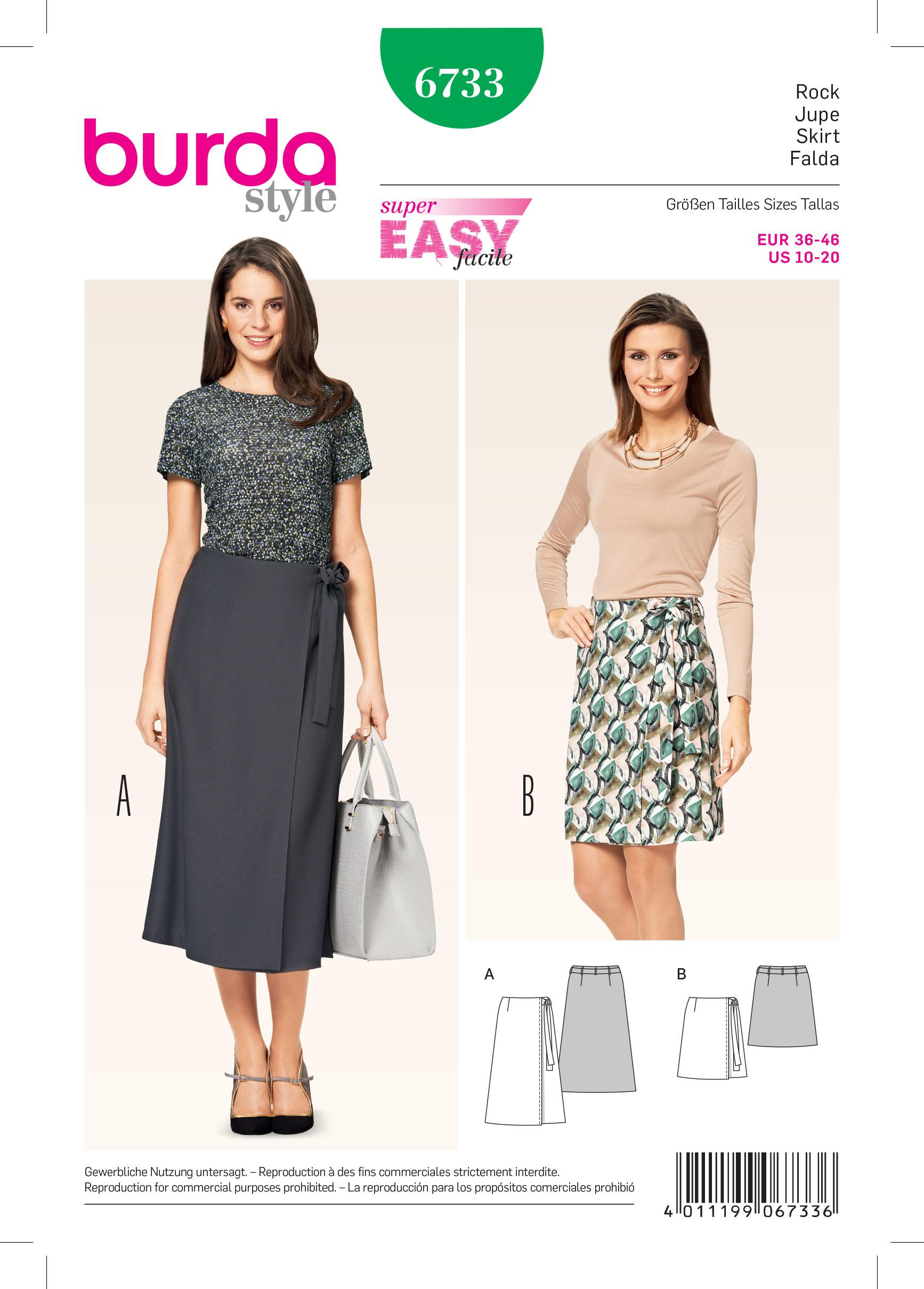 Burda B6733 Women's Wrap Skirt Sewing Pattern