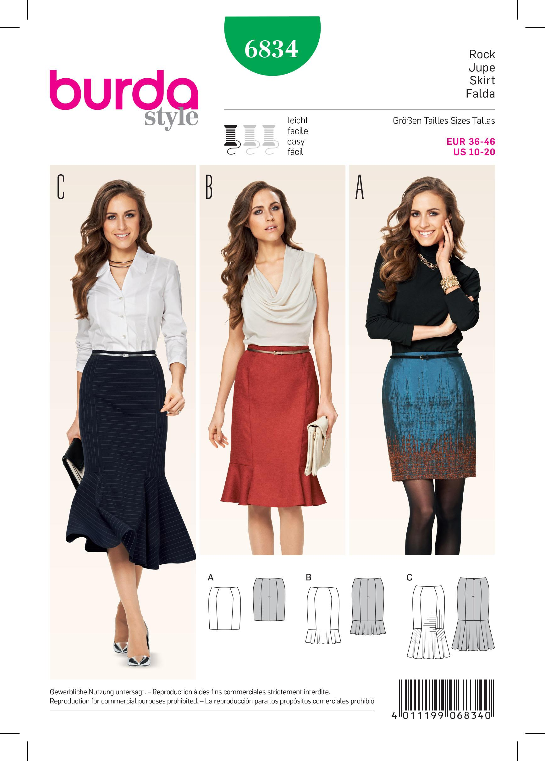 Burda B6834 Skirt Sewing Pattern