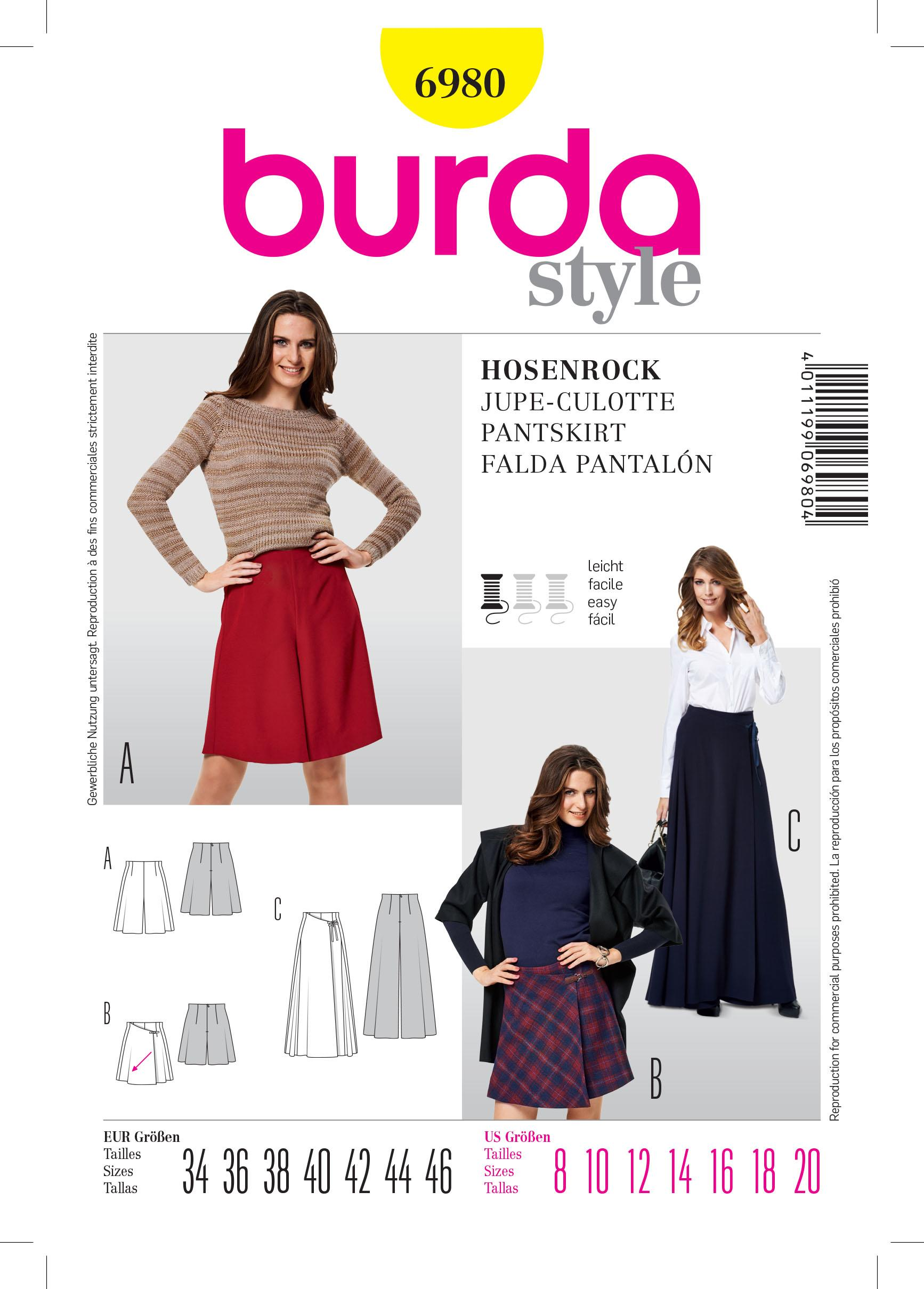 Burda B6980 Burda Trouserskirts Sewing Pattern