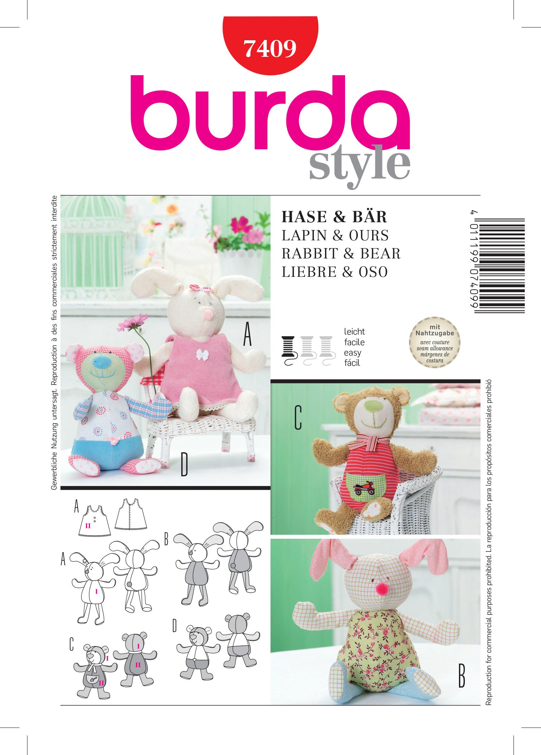 Burda B7409 Rabbit & Bear Toy Sewing Pattern