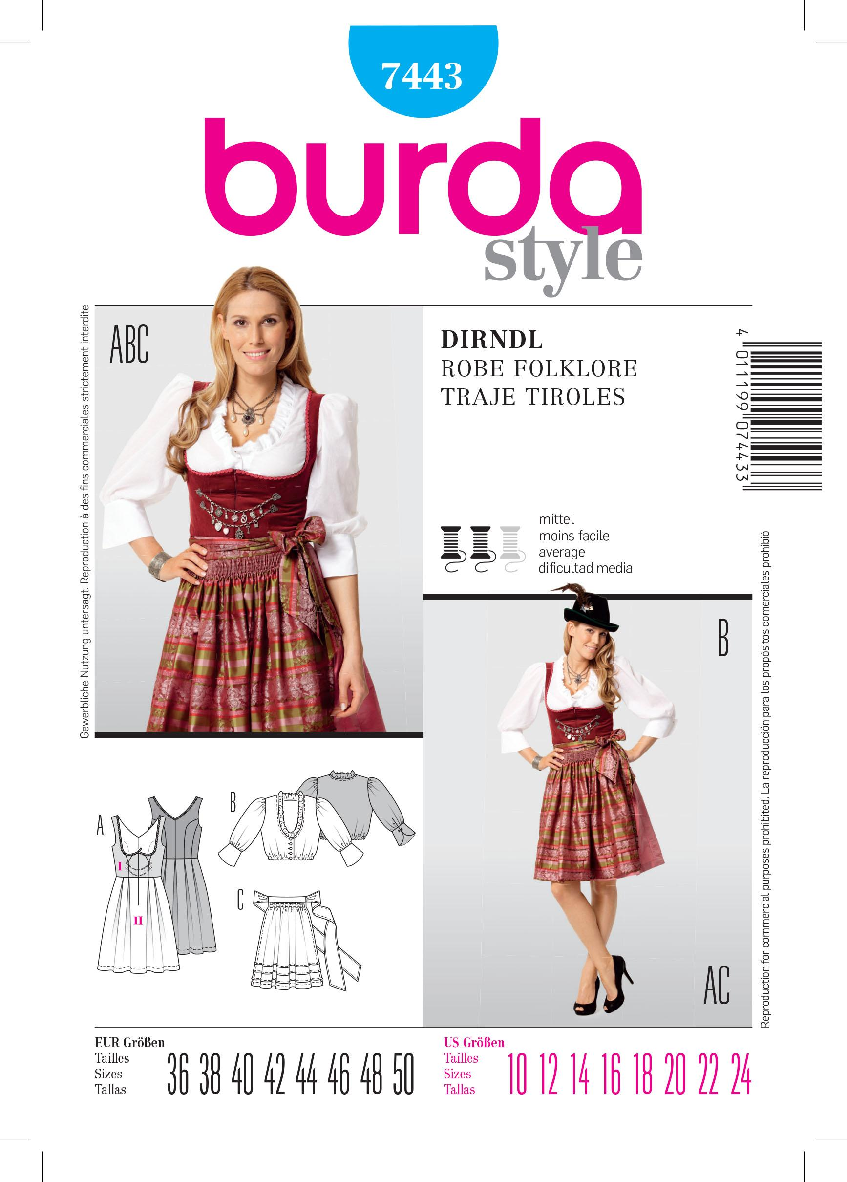 Burda B7443 Dirndl Dress Sewing Pattern