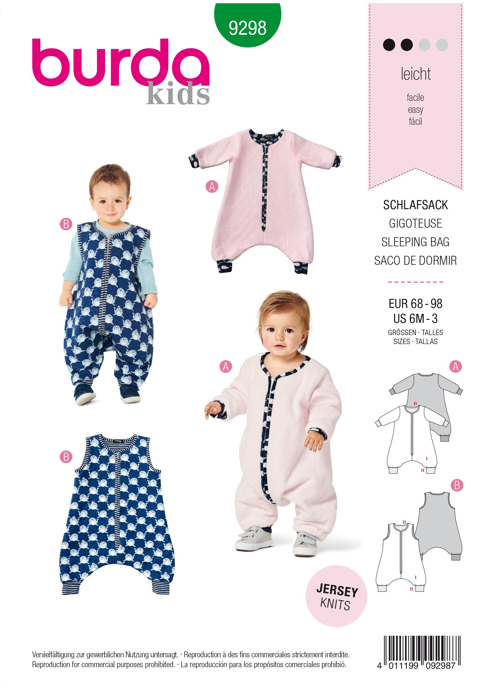 Burda B9298 Sleeping Bag with Legs Sewing Pattern