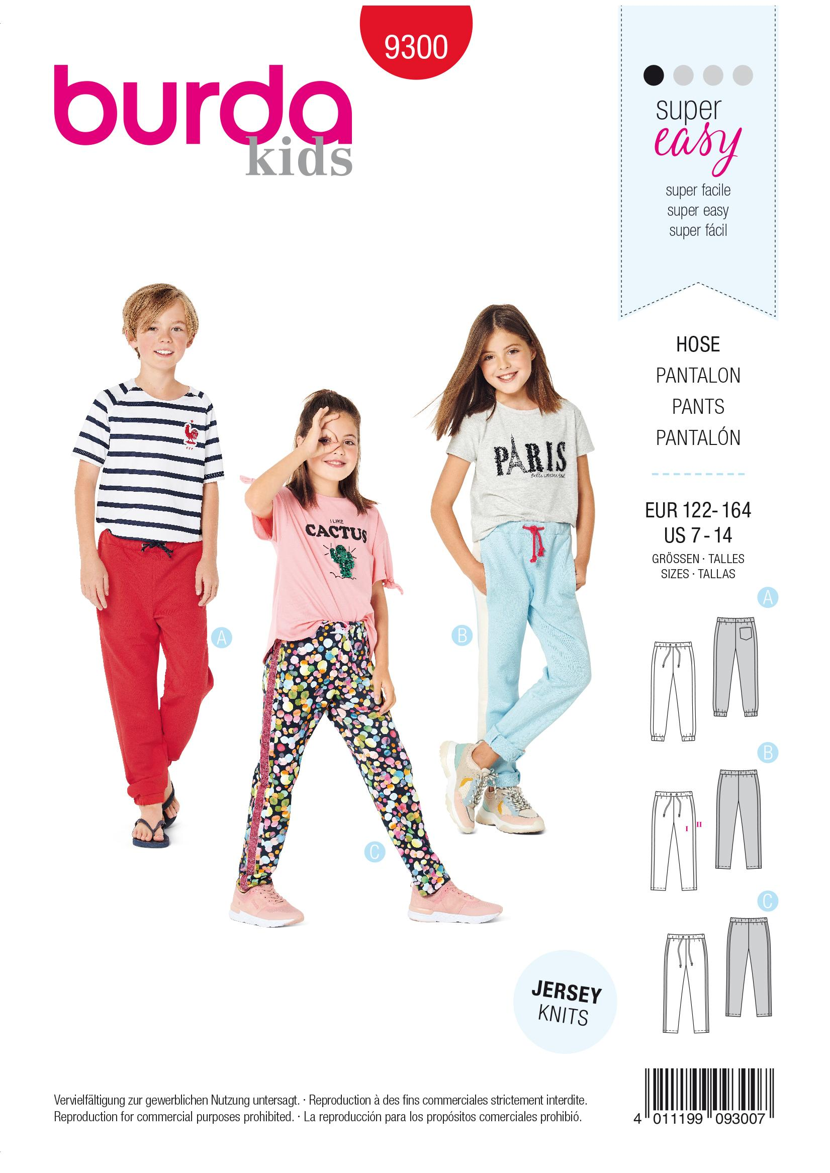 Burda B9300 Jogging Pants Sewing Pattern