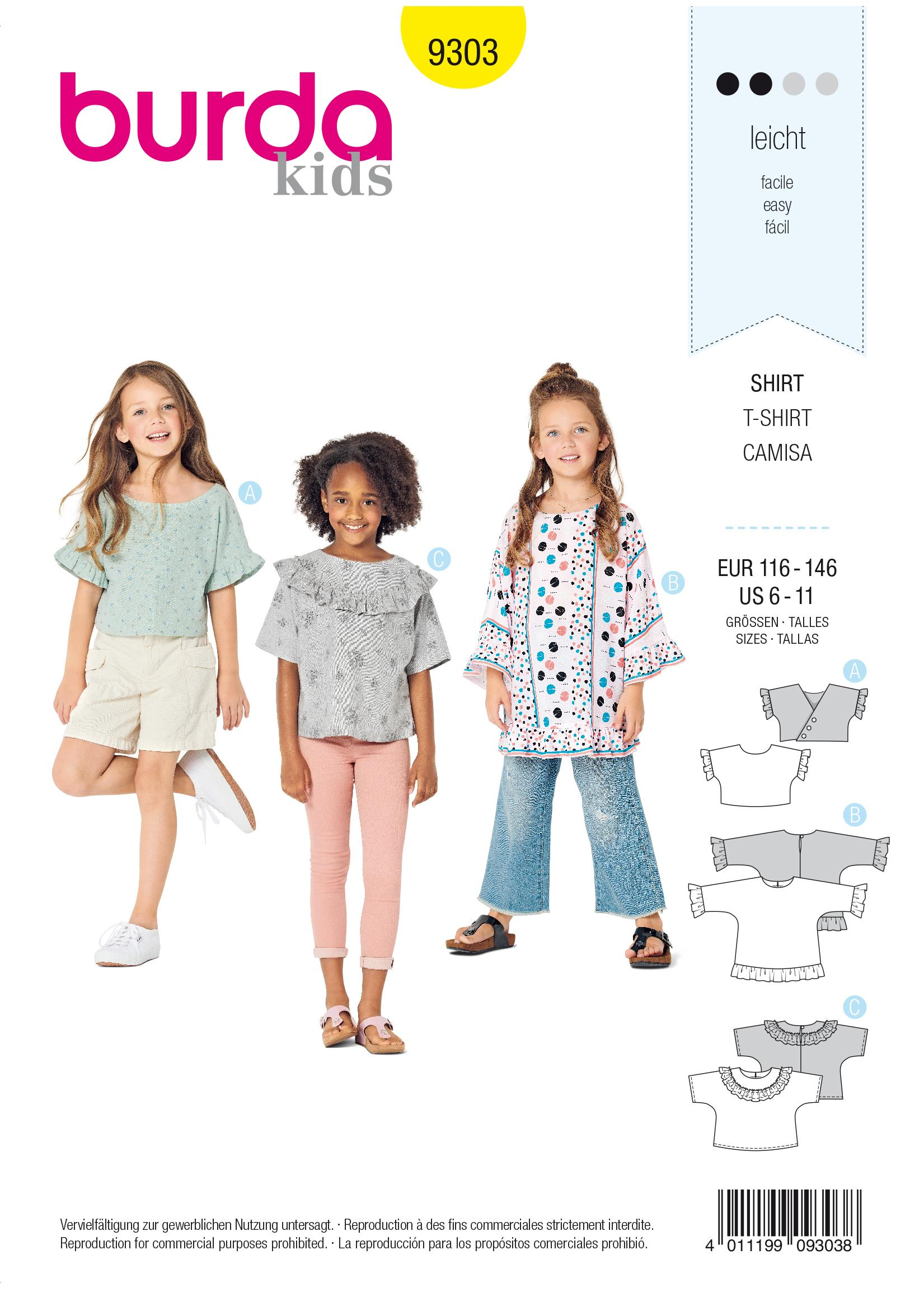 Burda B9303 Top with Integral Sleeves Sewing Pattern