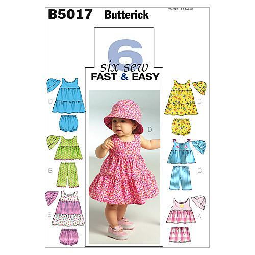Butterick B5017 Infants' Top, Dress, Panties, Shorts, Pants and Hat