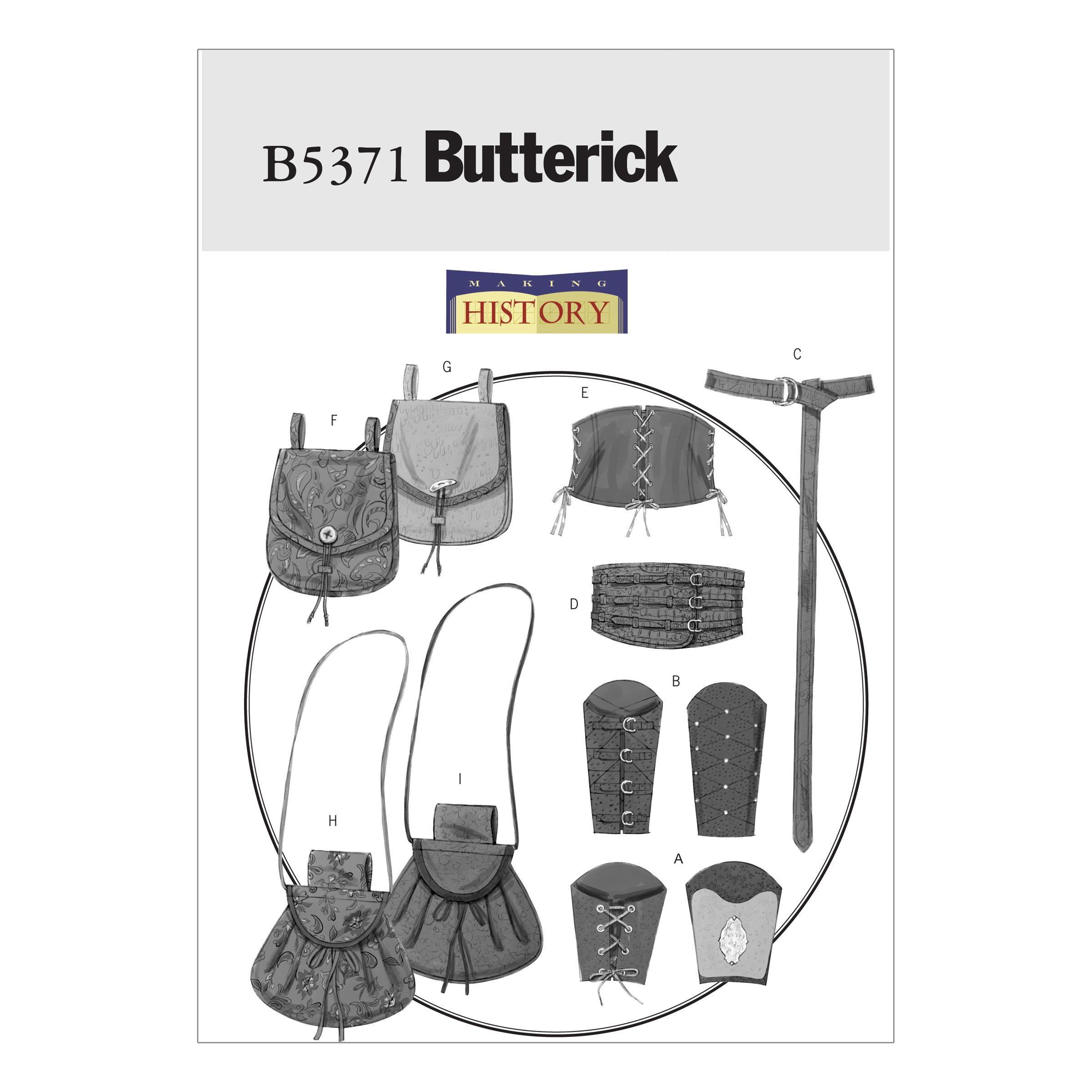 Butterick B5371 Misses'/Men's Wrist Bracers, Corset, Belt And Pouches