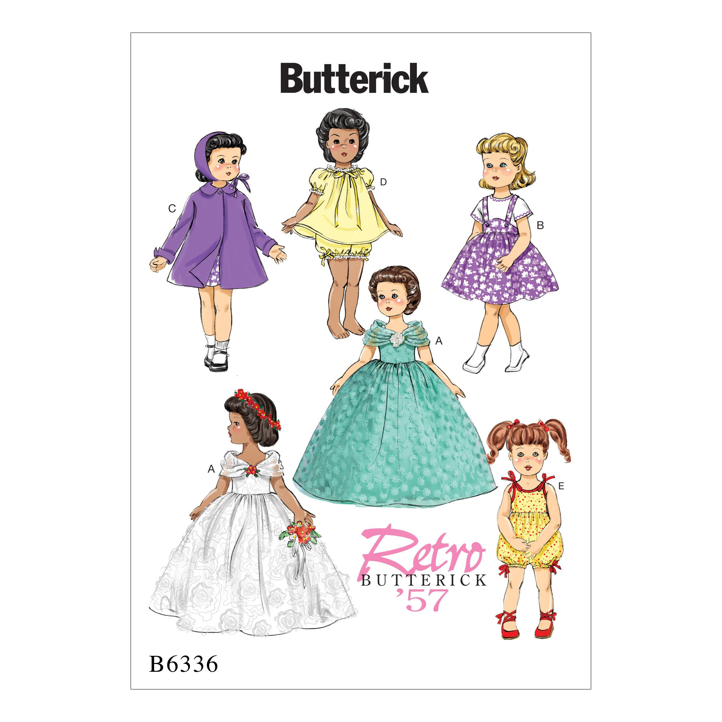 "Butterick B6336 Retro Outfits for 18"" Doll"