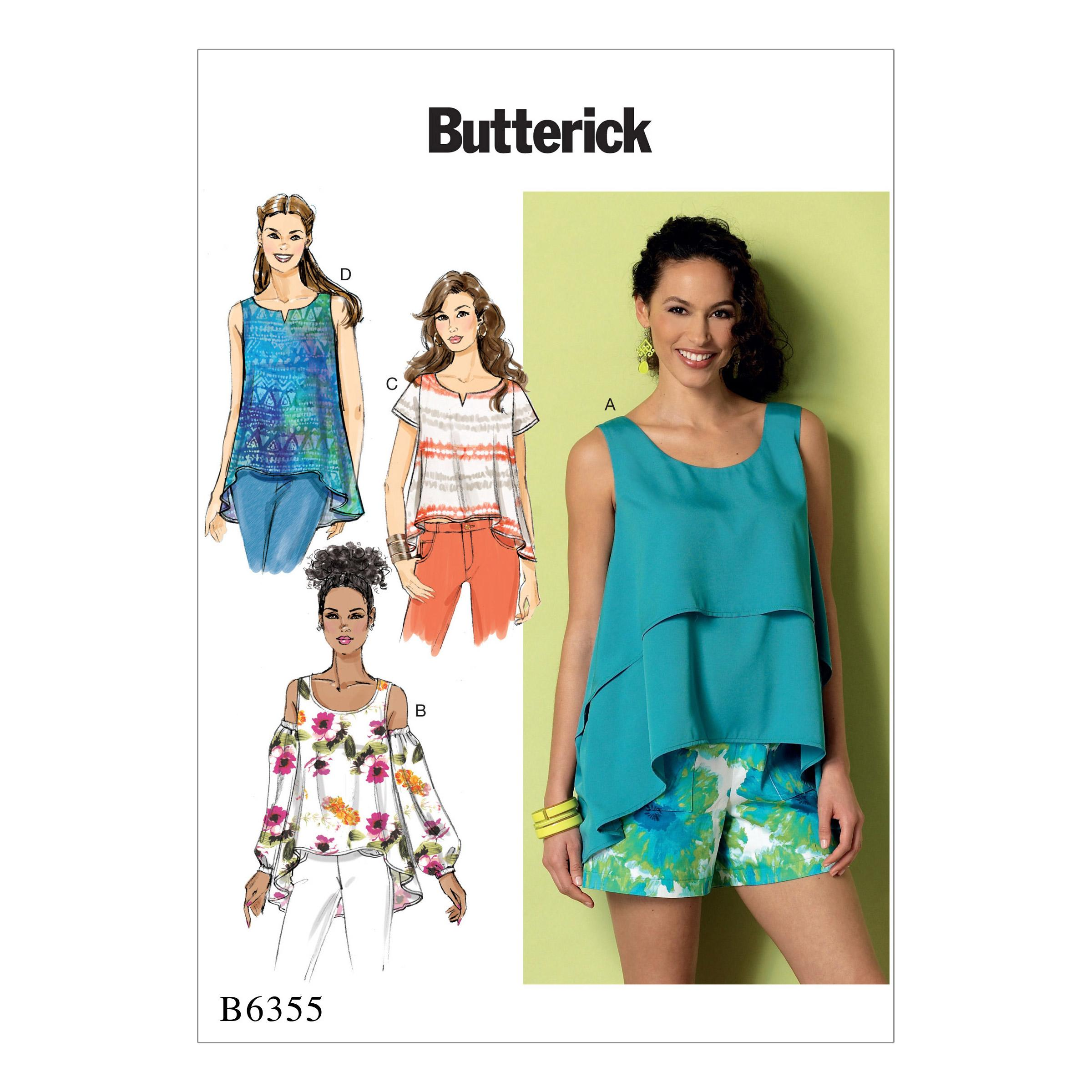 Butterick B6355 Misses' Overlay, Cold Shoulder or Notch-Neck Tops
