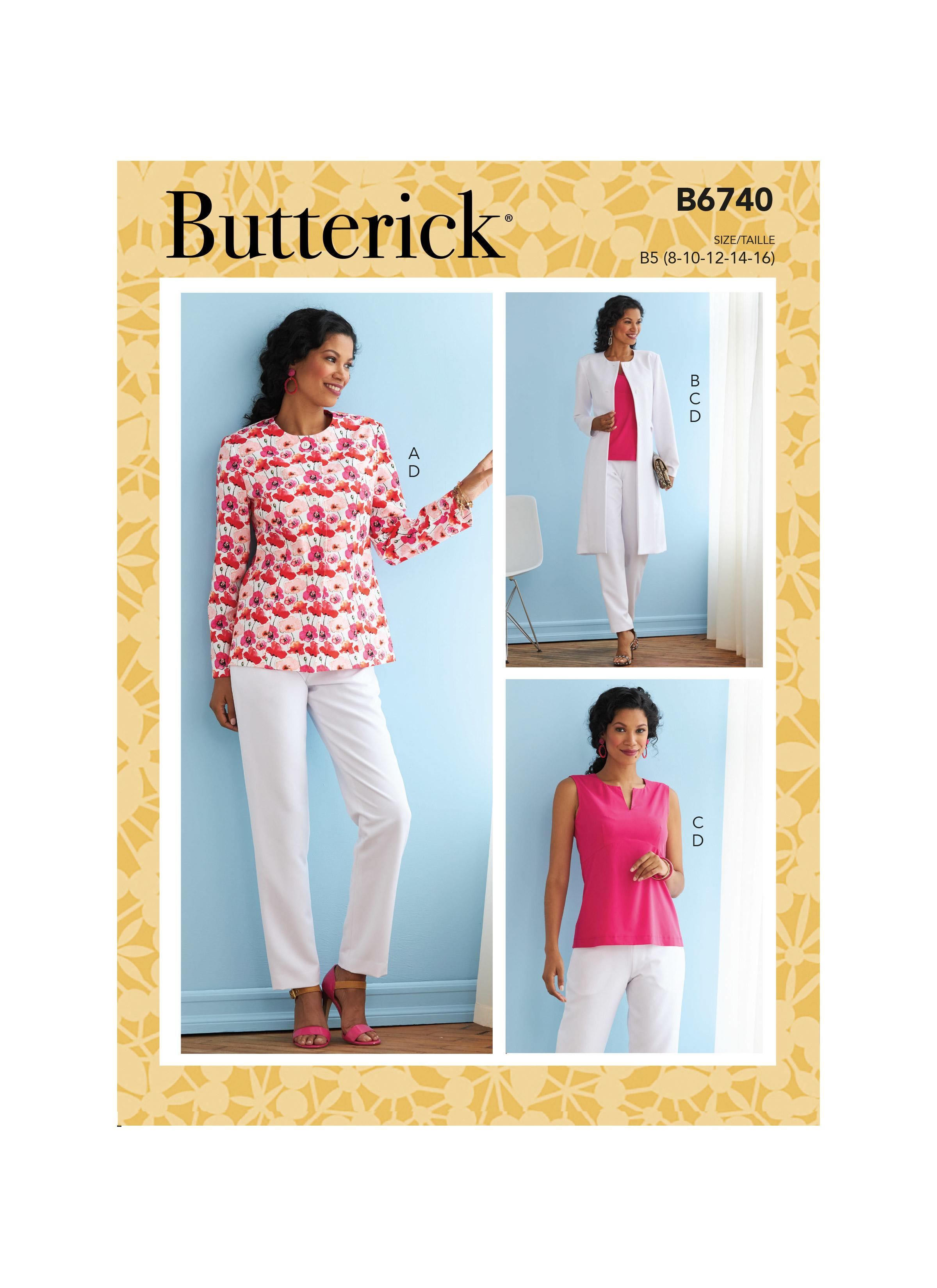 Butterick B6740 Misses' Jacket, Coat, Top & Pants