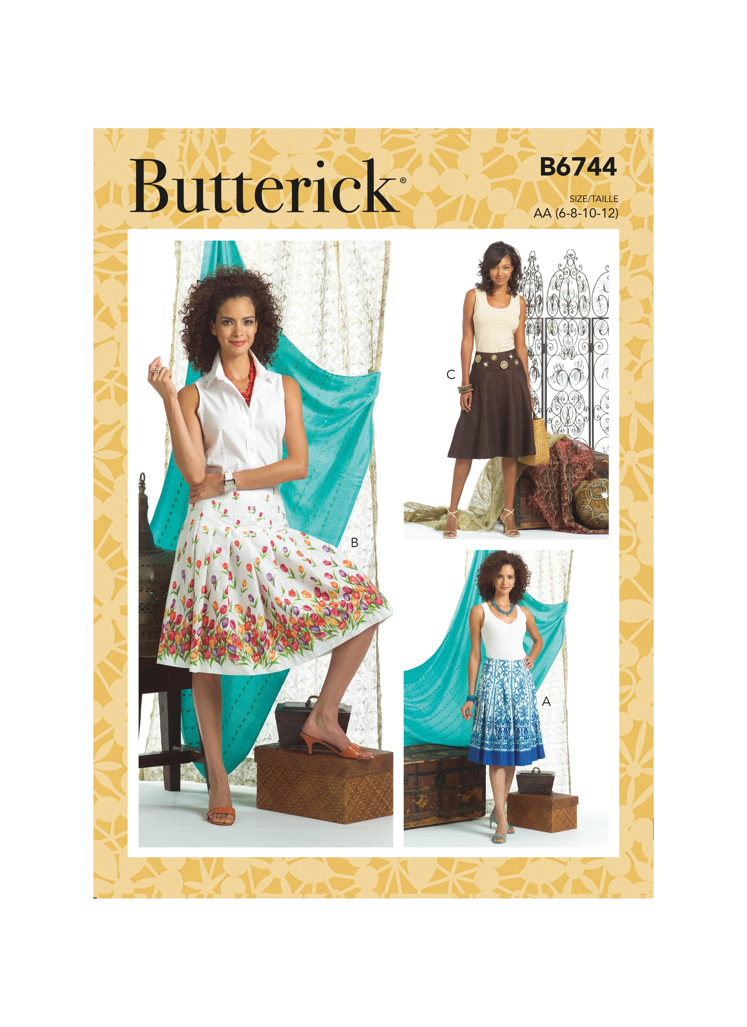 Butterick B6744 Misses' Pleated or Flared Skirts